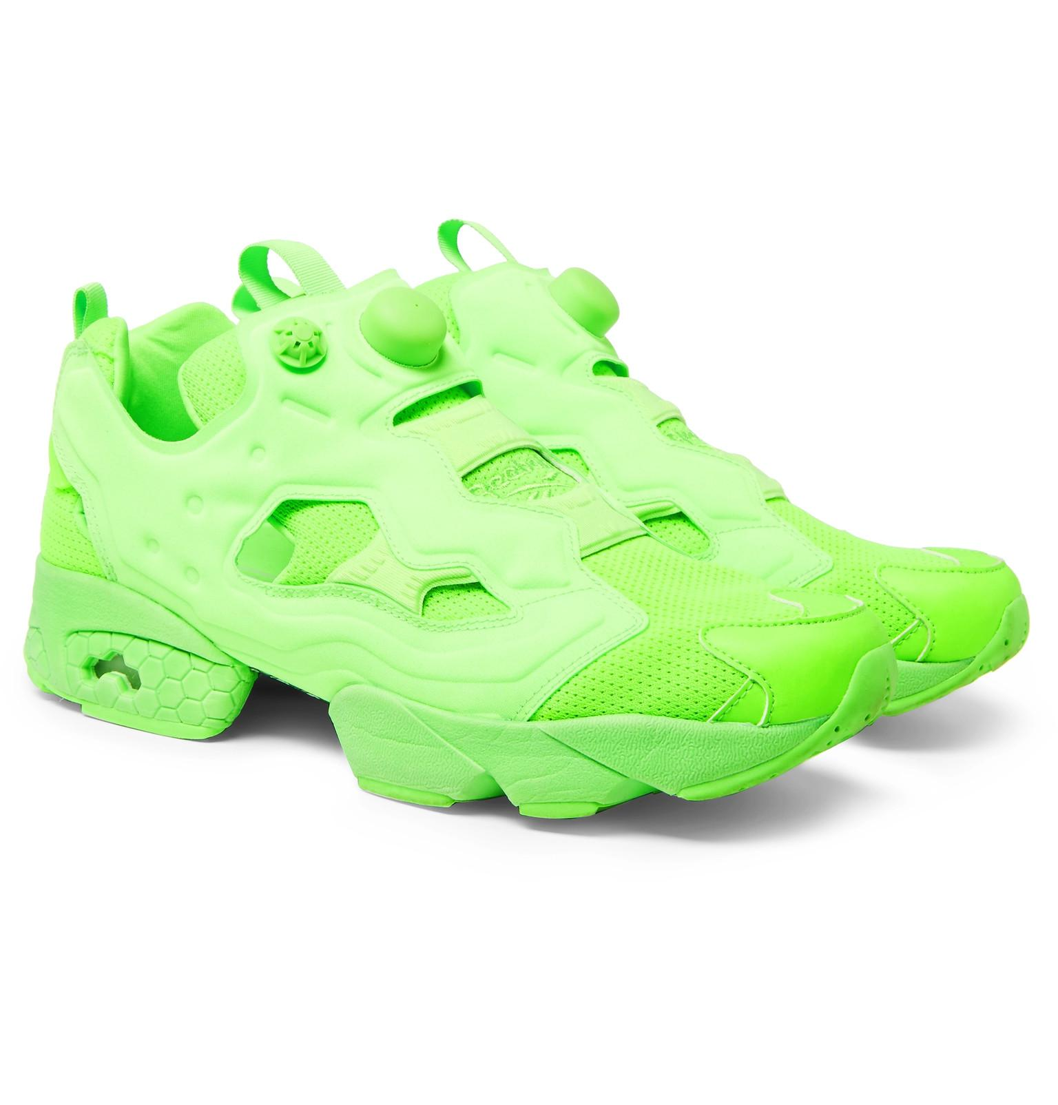 Vetements + Reebok Instapump Fury Neon Sneakers - Green