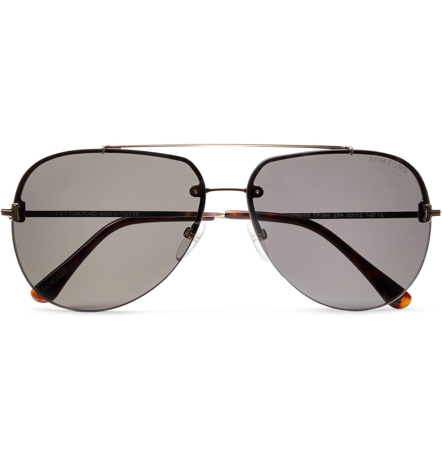 0ca9b39b62c Tom Ford - Metallic Brad Aviator-style Silver-tone Sunglasses for Men - Lyst.  View fullscreen