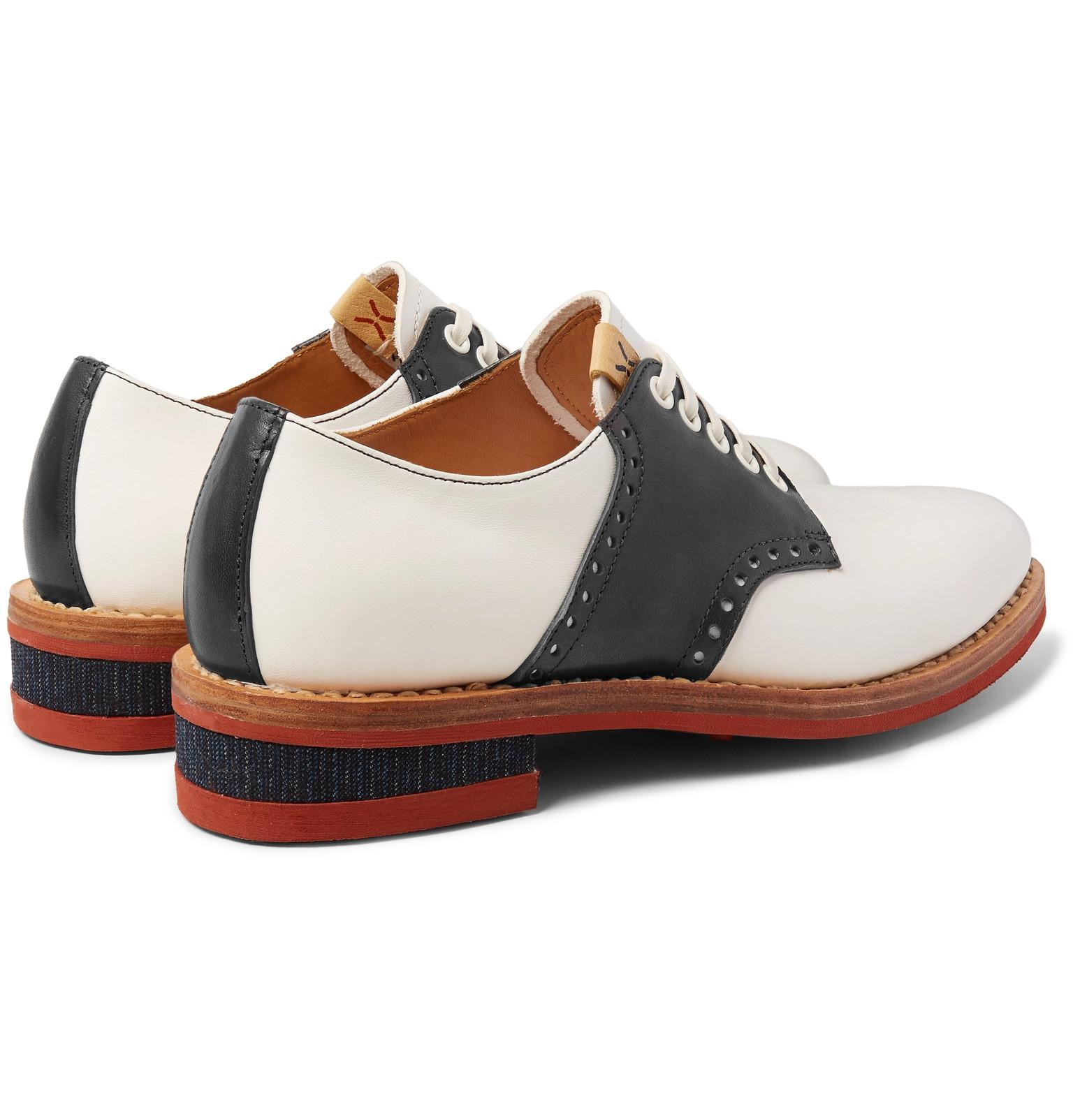 8a5bd1209 Visvim Patrician Folk Two-tone Leather Derby Shoes in White for Men ...