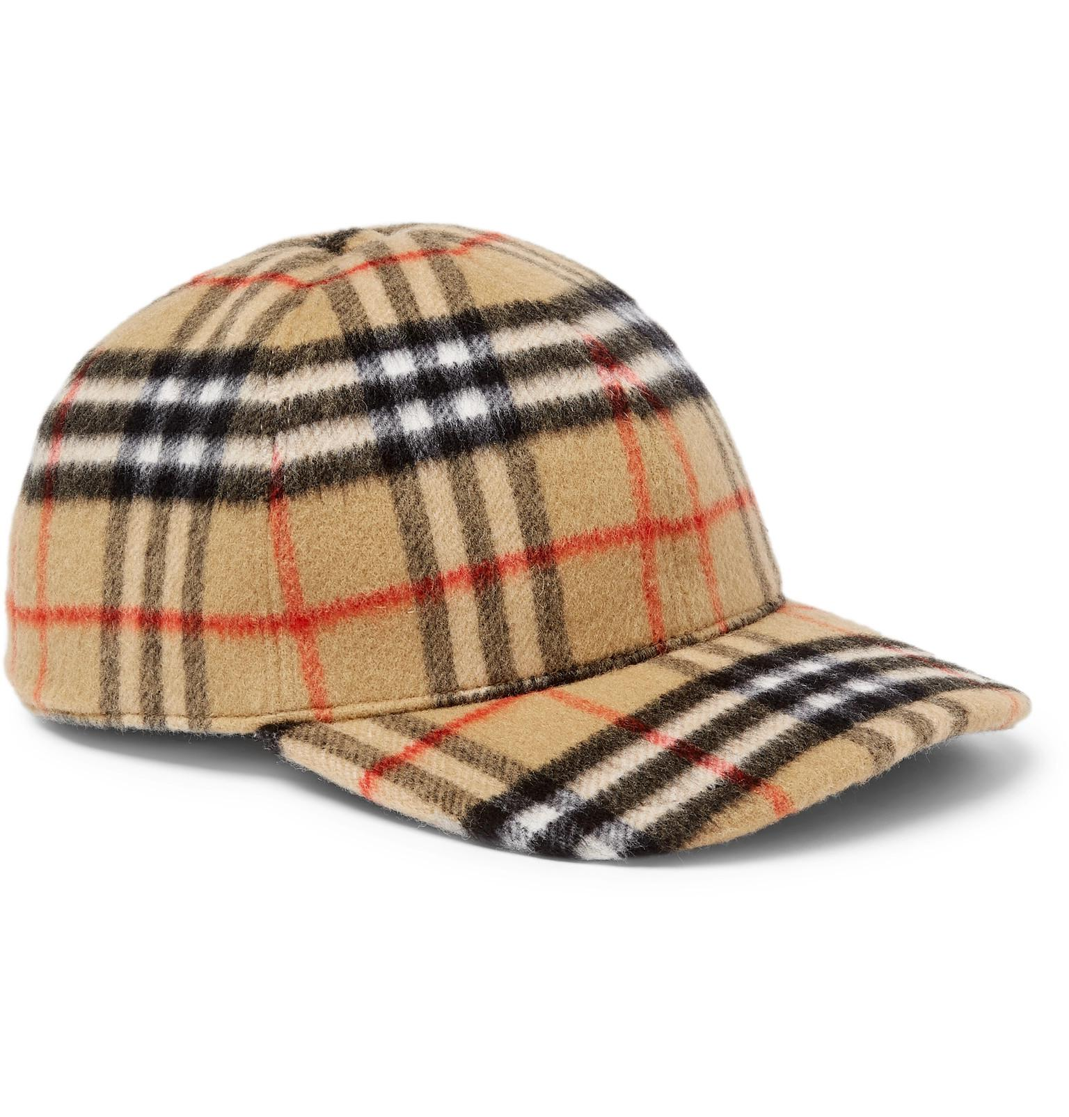 ... best quality 79547737ee Lyst - Burberry Checked Brushed-wool Baseball  Cap in Brown for Men ... defa1b6594b6