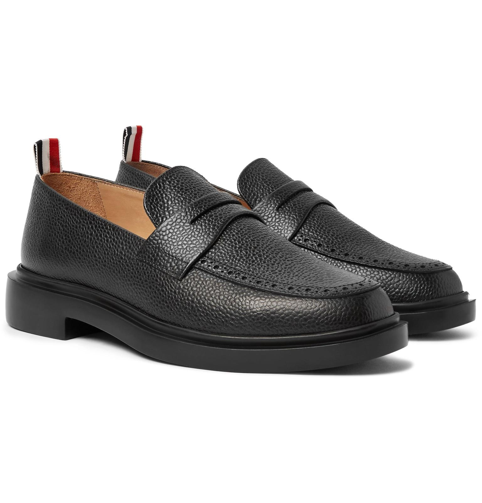 34bbed273df Lyst - Thom Browne Pebble-grain Leather Penny Loafers in Black for ...
