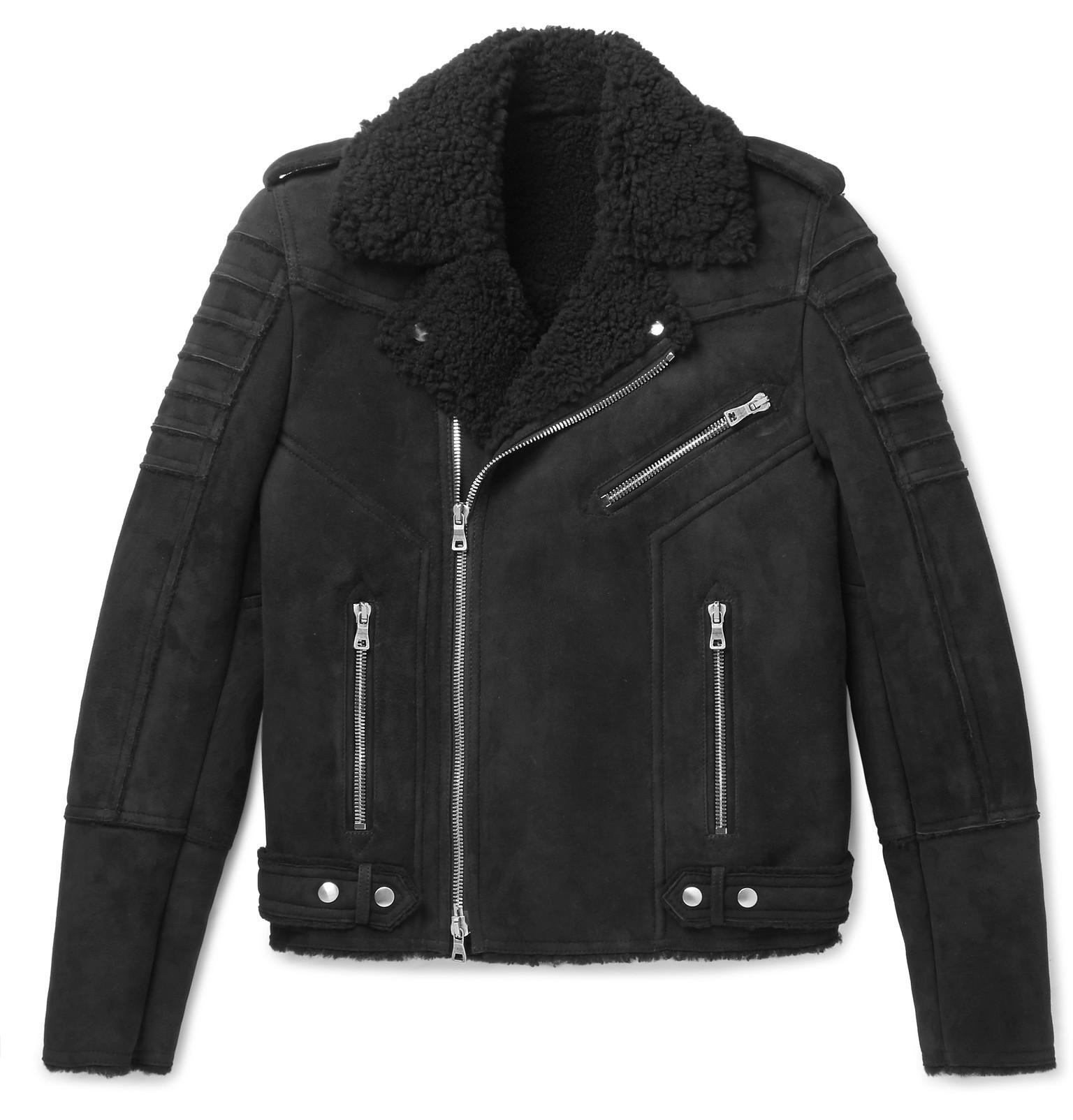 Black Shearling Biker Balmain fit Slim Jacket wIAqRq5x