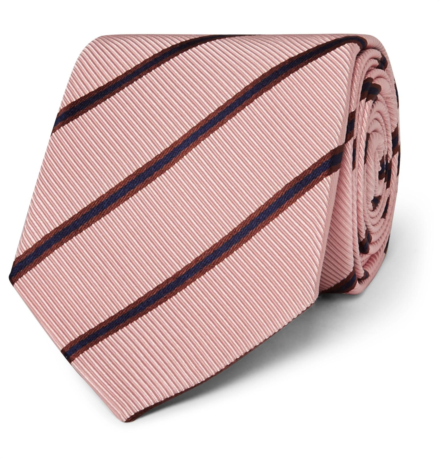 + Drakes 8.5cm Striped Silk And Cotton-blend Faille Tie Kingsman