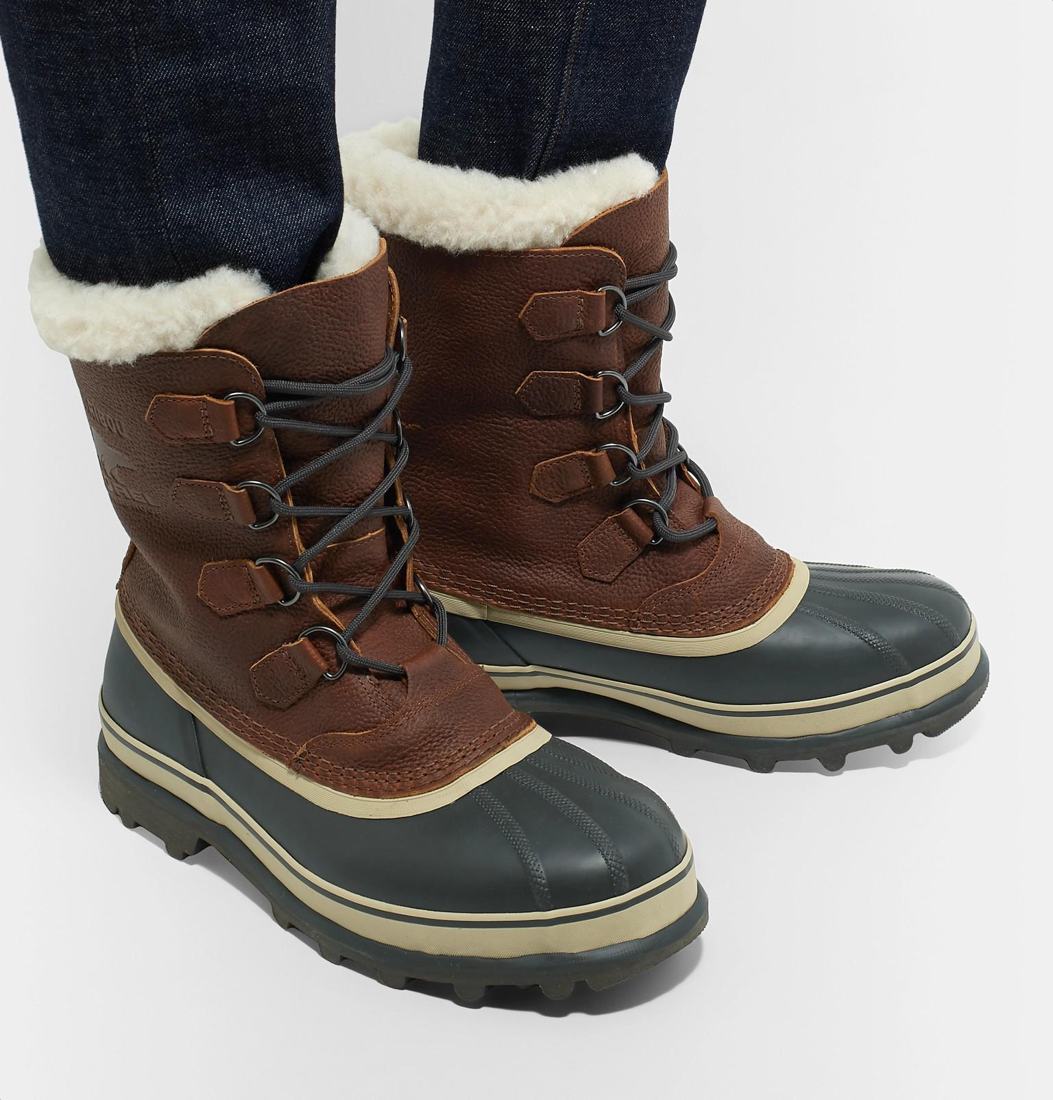 289bc60dd47 Sorel Brown Caribou Faux Shearling-trimmed Waterproof Leather And Rubber  Snow Boots for men