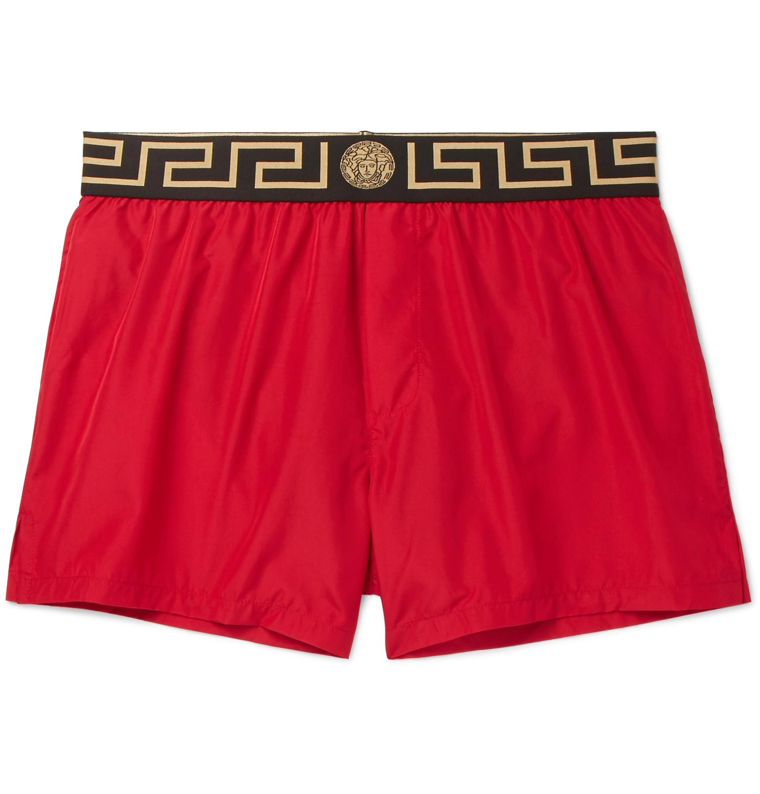 3d14b6a5ee09e Lyst - Versace Slim-fit Short-length Logo-trimmed Swim Shorts in Red ...