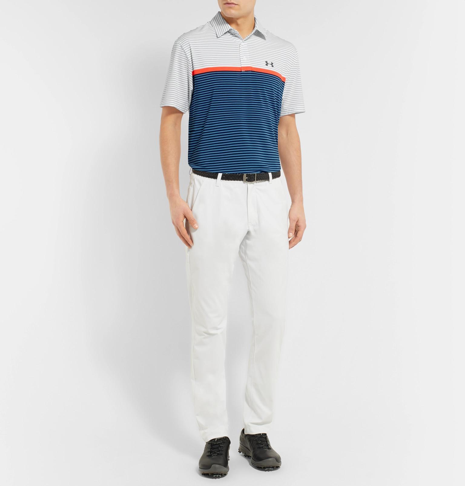 01b9eb4a98 Under Armour Playoff Striped Heatgear Golf Polo Shirt in White for ...