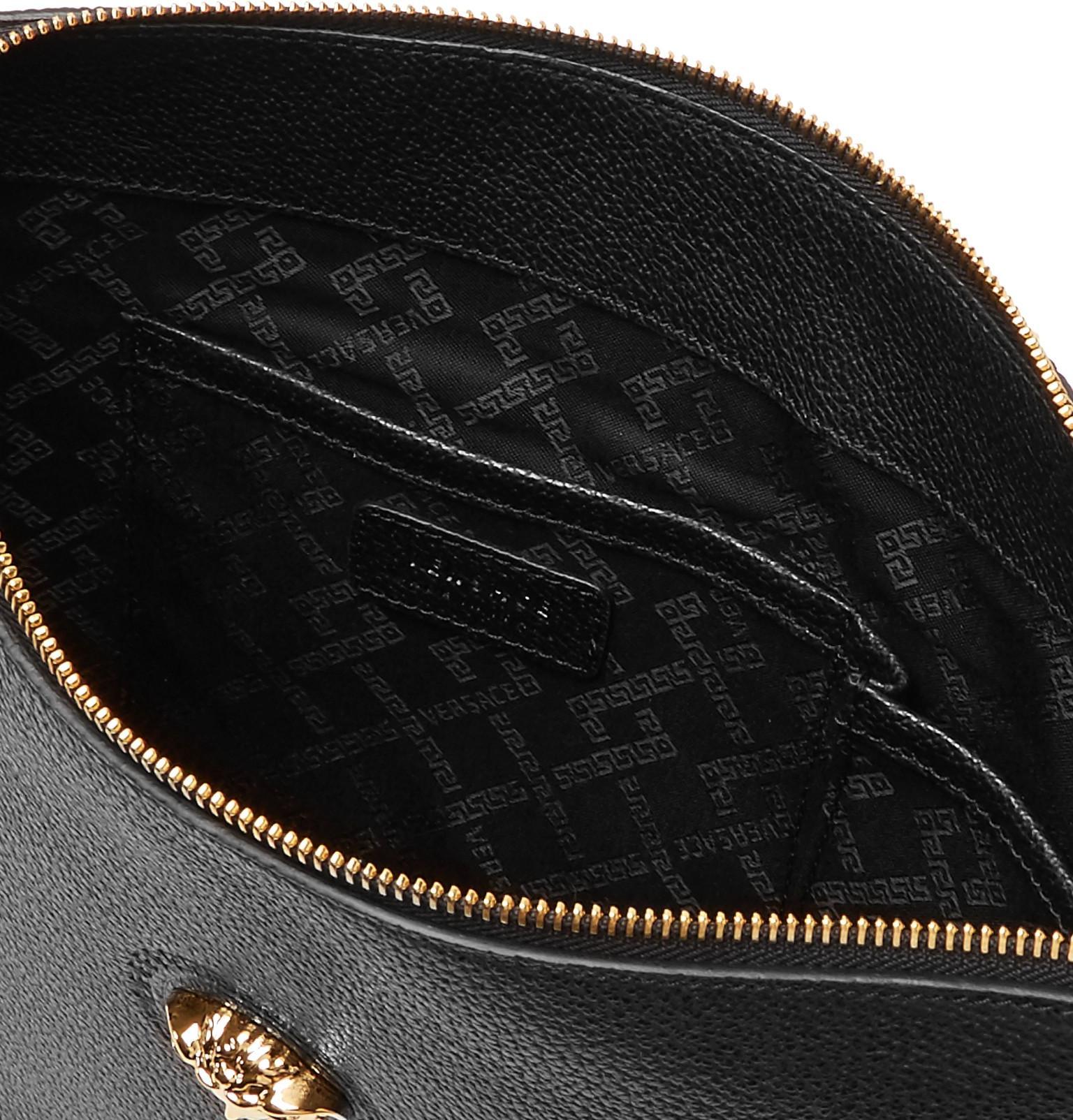 Leather Bag Messenger In Full For Black Versace Grain Logo Detailed HqgvgI