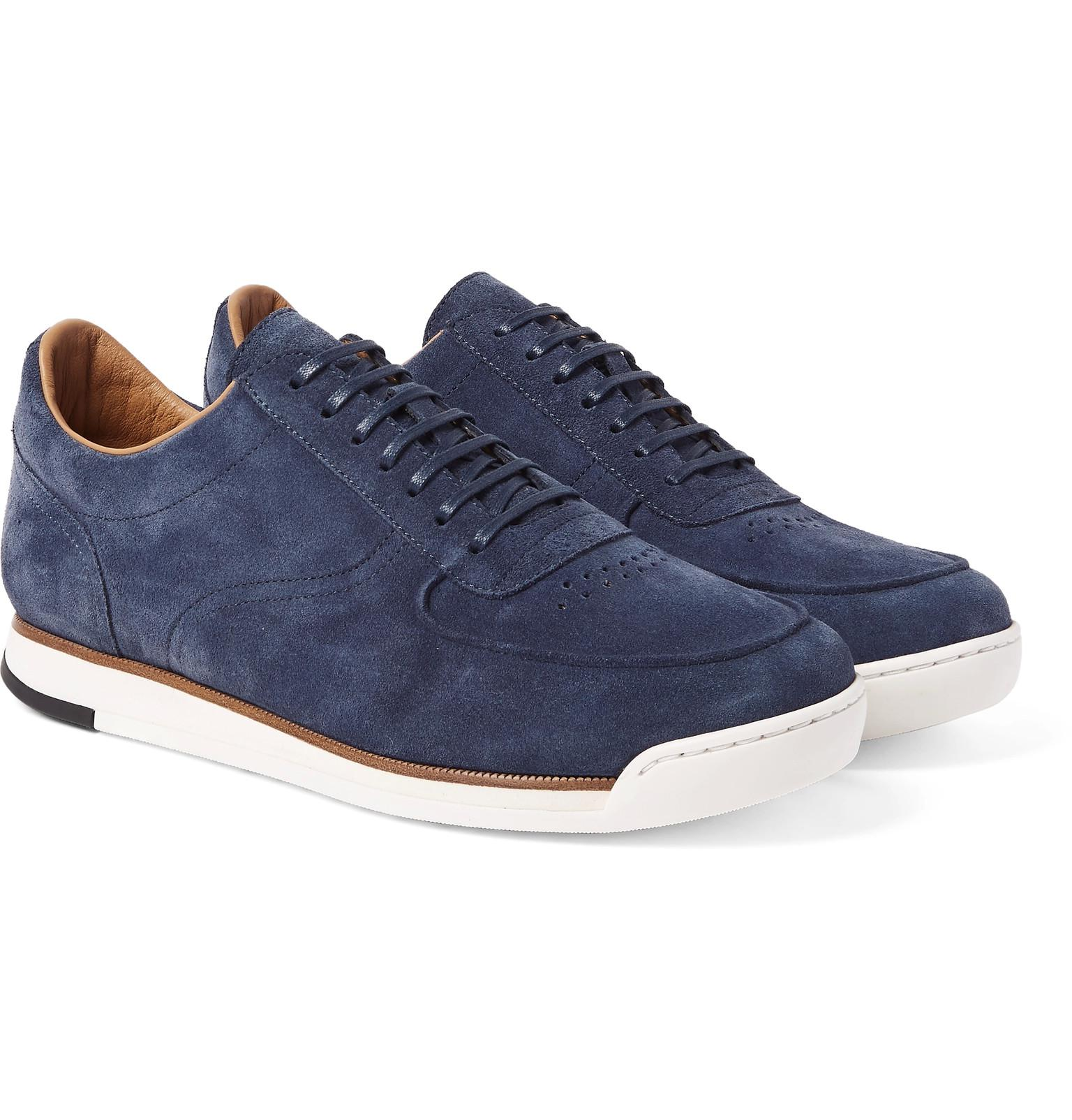Porth low-top leather and suede trainers John Lobb 8AkCCg
