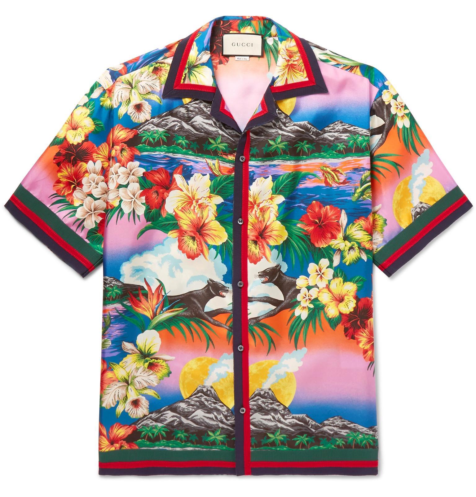 Gucci - Blue Camp-collar Grosgrain-trimmed Floral-print Silk Satin-twill.  View fullscreen 42e527694ce