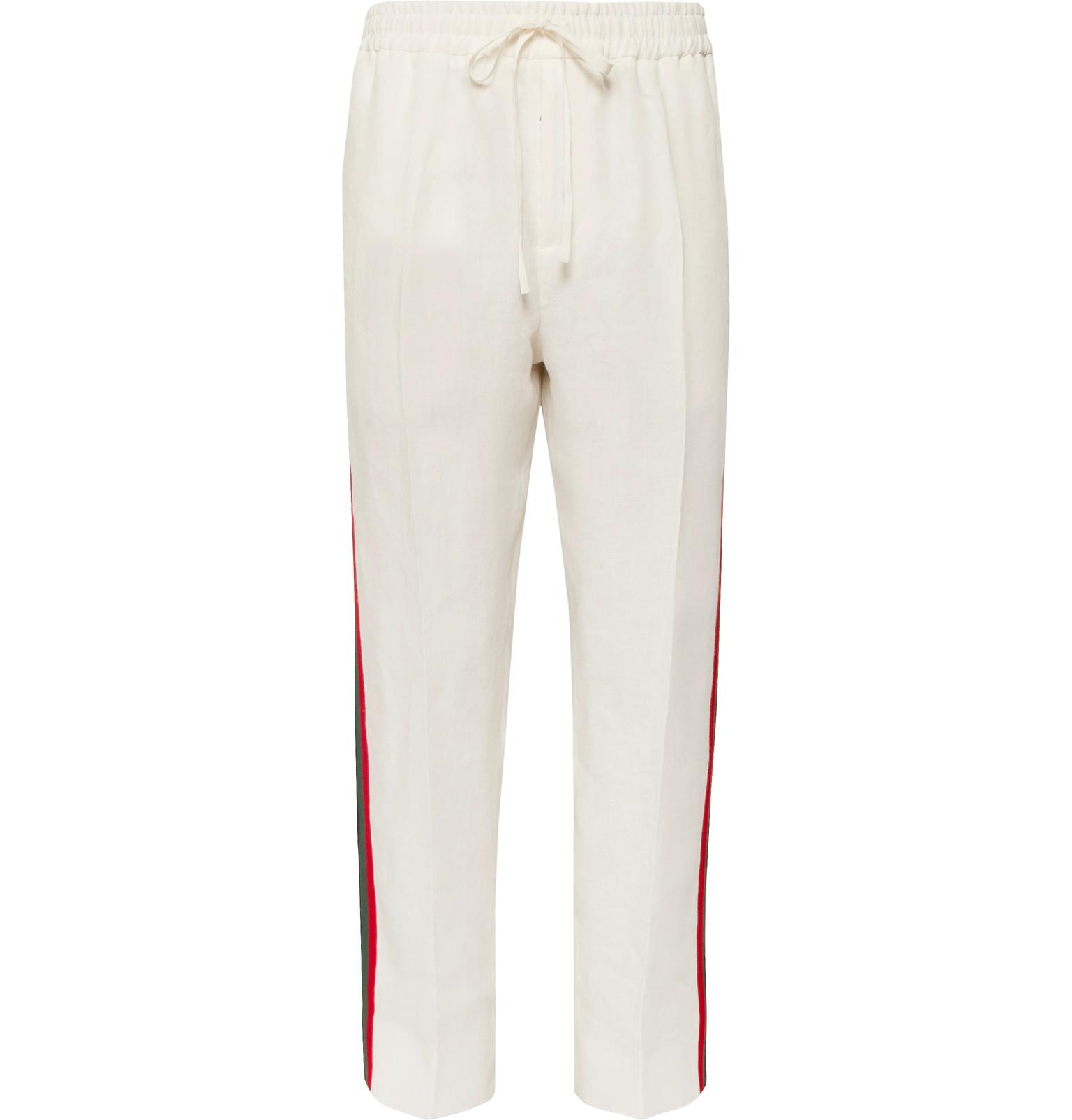 Webbing-trimmed Satin-twill Drawstring Trousers Gucci