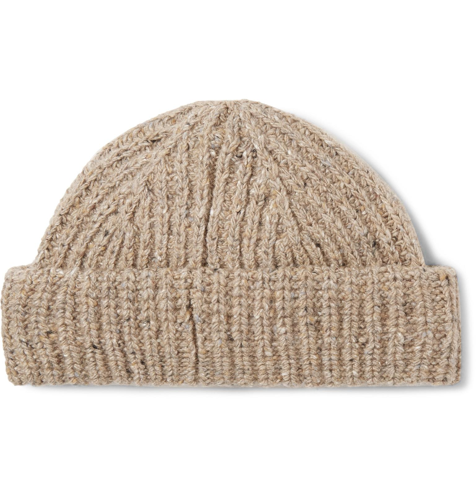 fa6b6b6aee2 Lyst - J.Crew Ribbed Donegal Wool-blend Beanie in Natural for Men