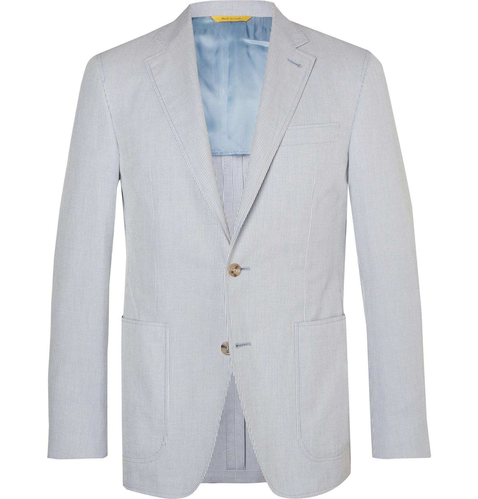 ca3207404f4825 Canali Light-blue Kei Slim-fit Unstructured Striped Cotton Blazer in ...