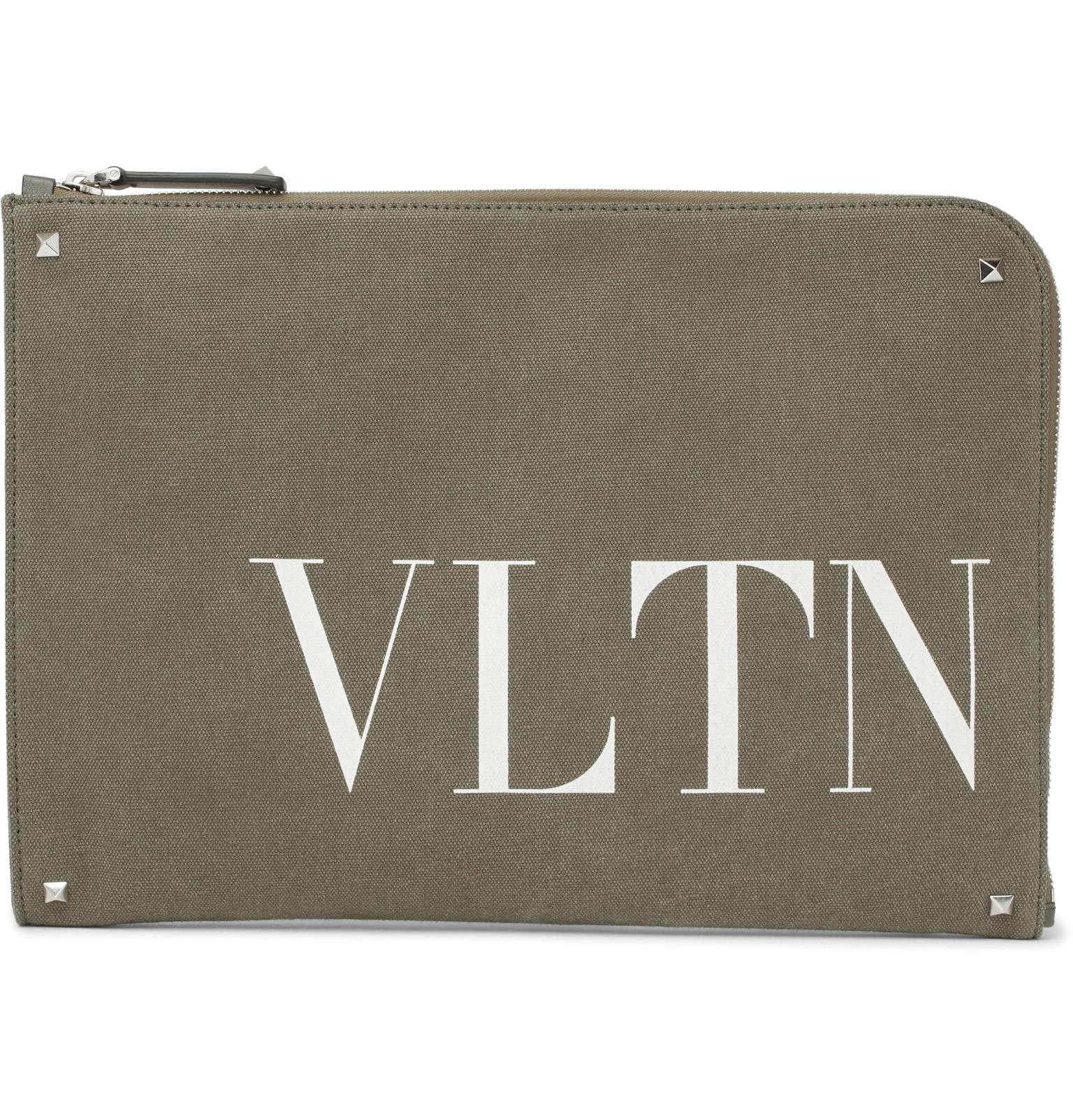 Valentino VLTN print canvas clutch
