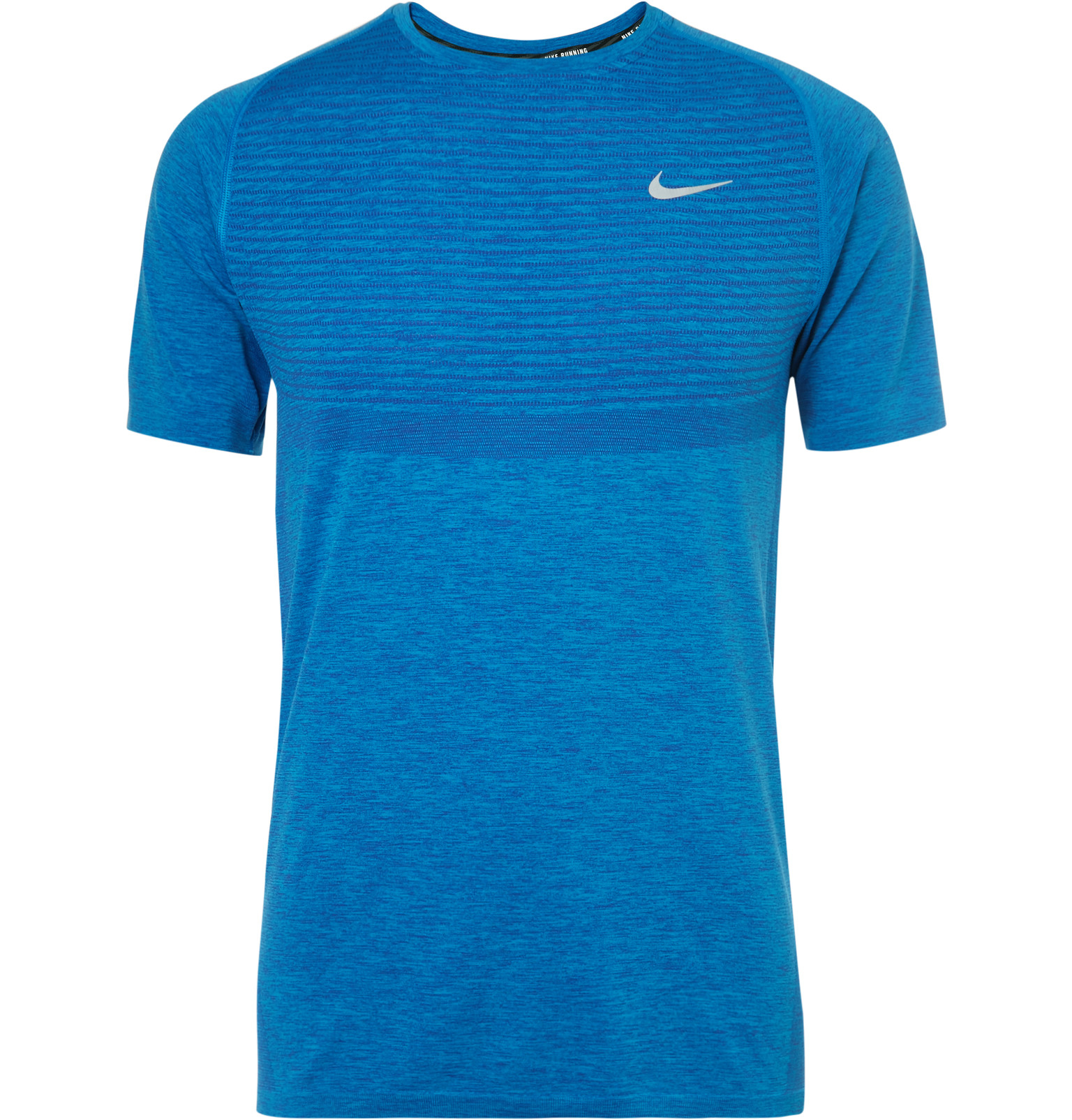 Nike dri fit knit running t shirt in blue for men lyst for Running dri fit shirts