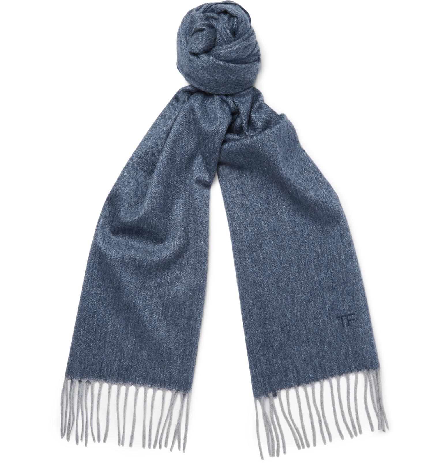 tom ford herringbone scarf in blue for lyst