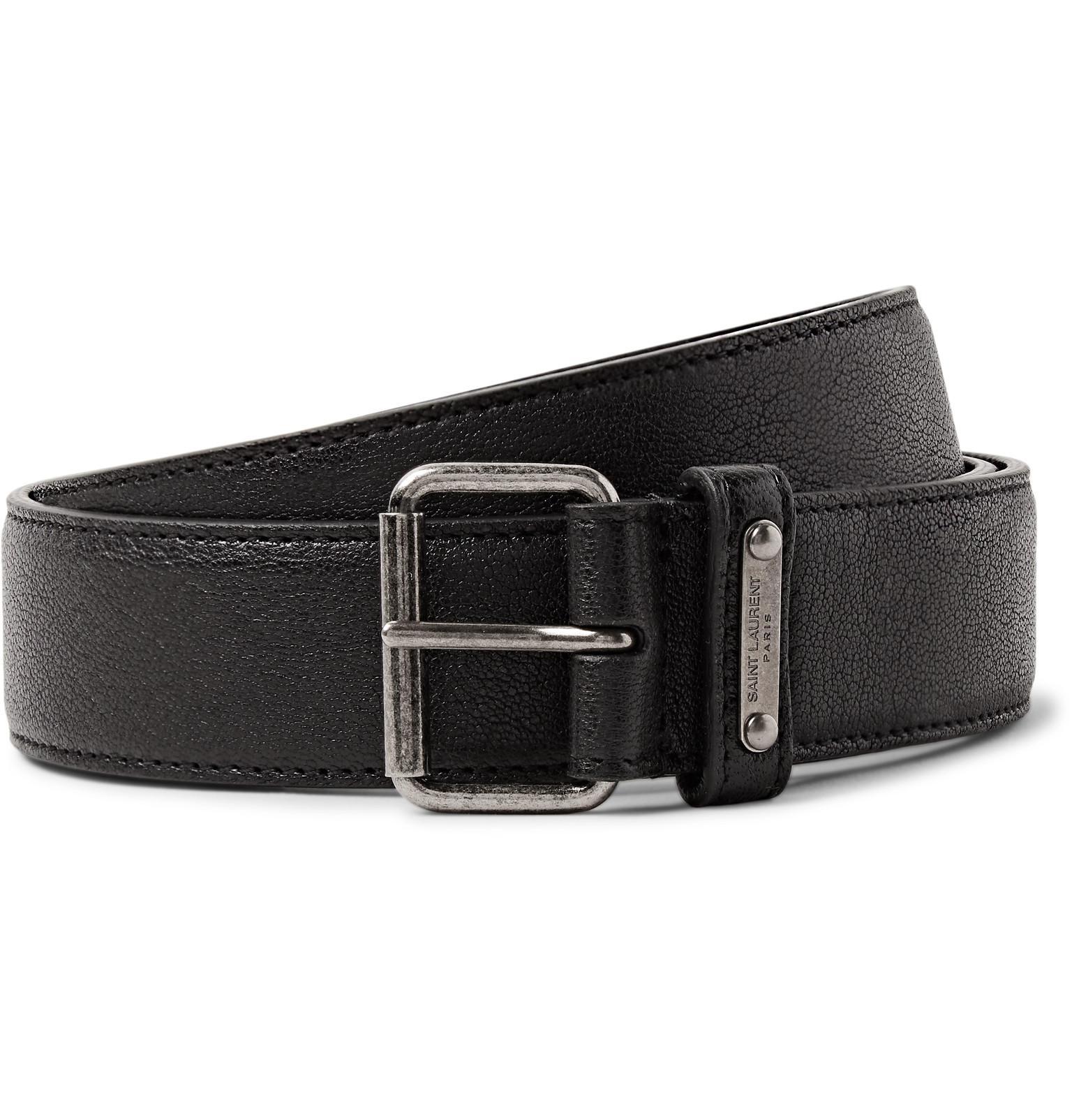 7b5c06ce8a6 Saint Laurent 3cm Black Pebble-grain Leather Belt in Black for Men ...
