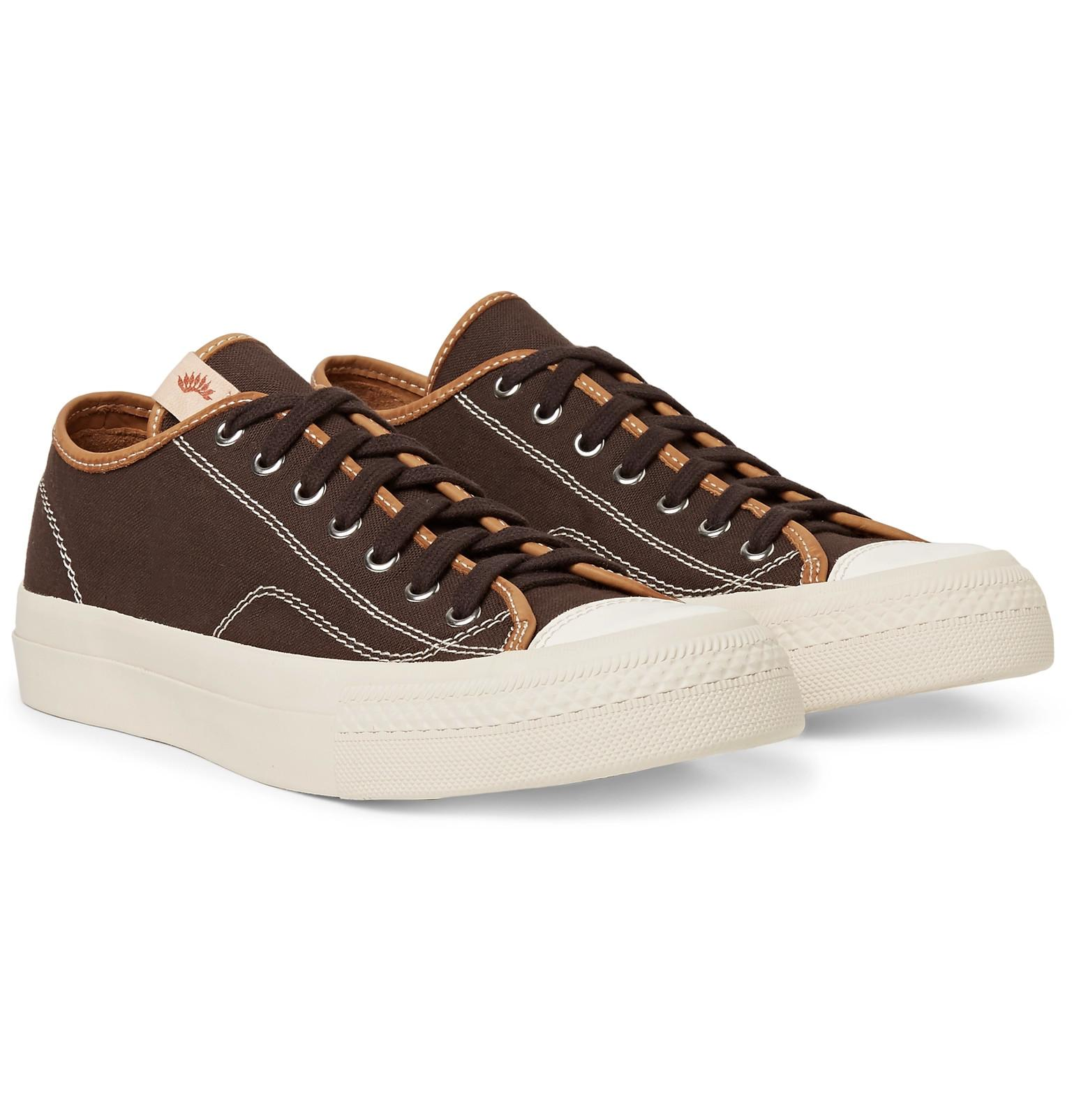 visvim skagway leather trimmed cotton canvas sneakers in