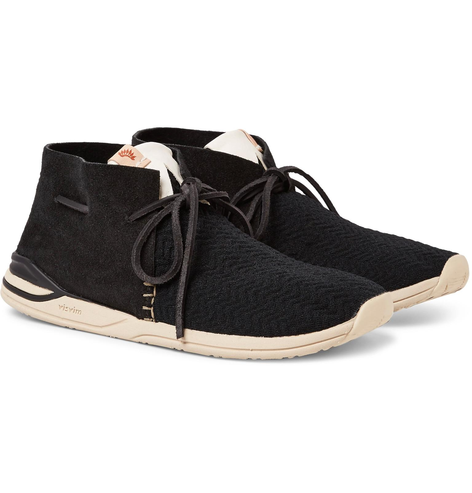 Lyst Visvim Huron Leather Trimmed Mesh And Suede