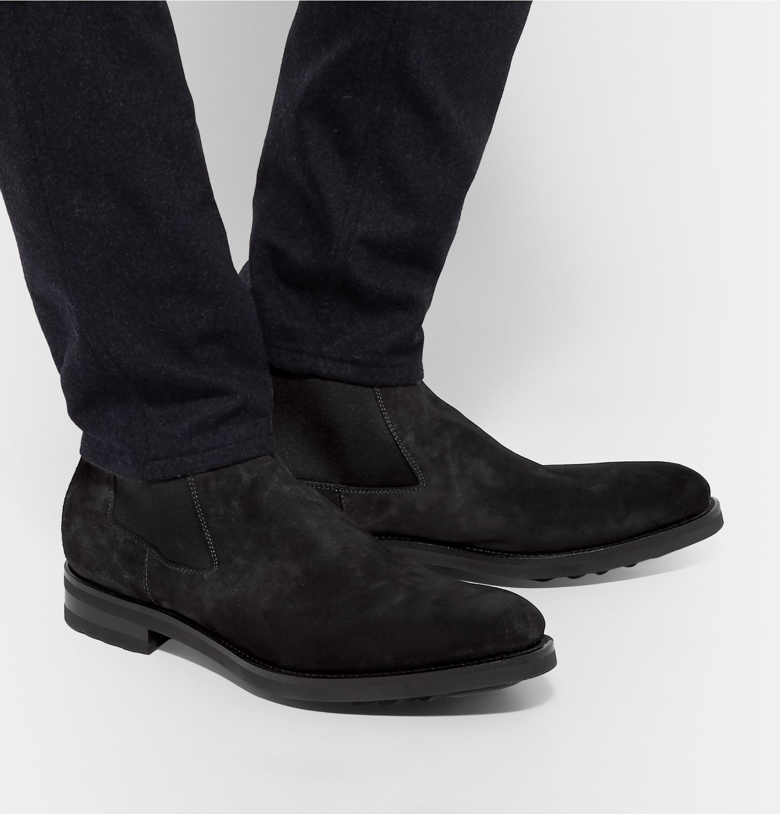 santoni burnished suede chelsea boots in gray for men lyst. Black Bedroom Furniture Sets. Home Design Ideas