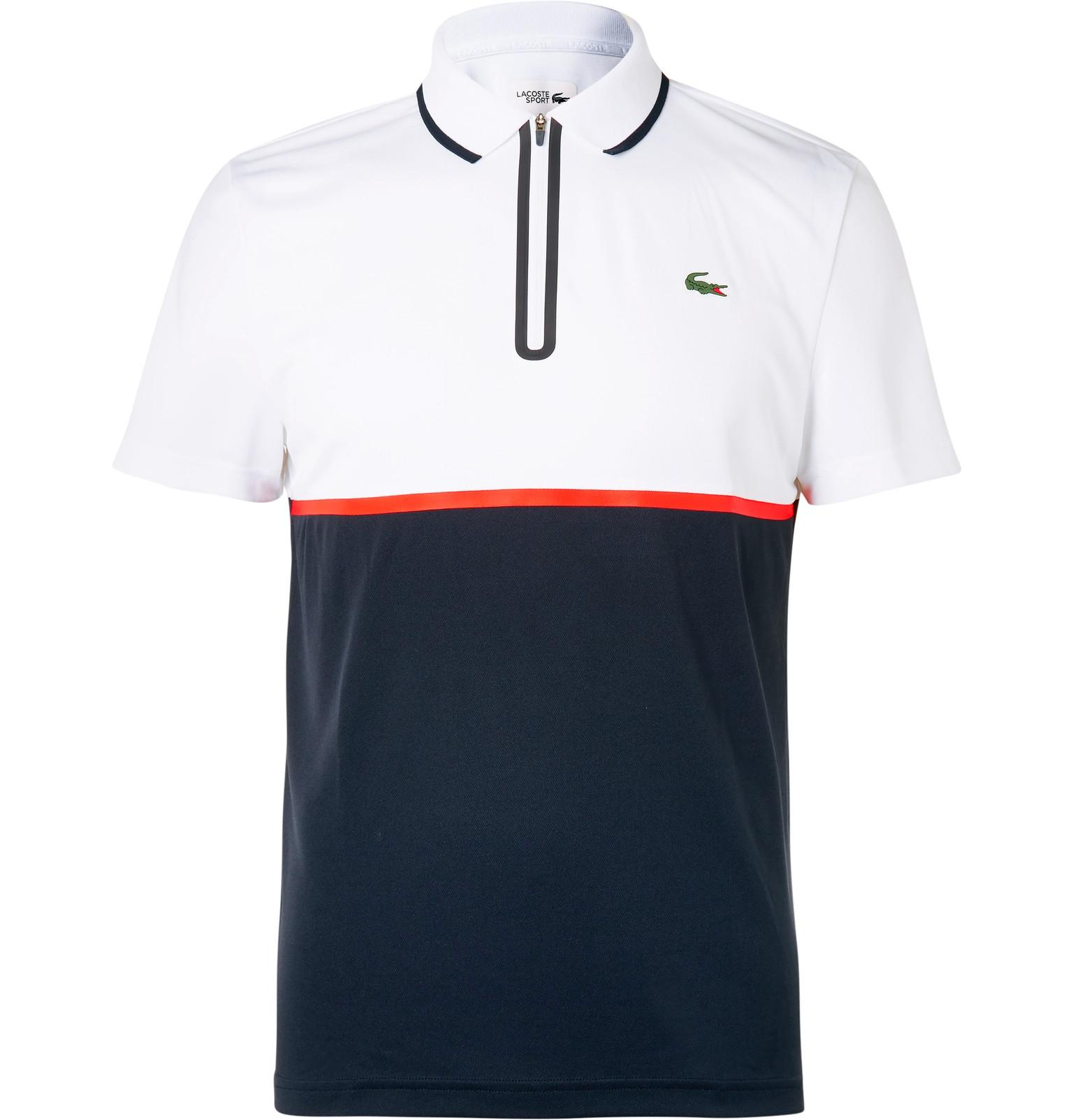lacoste sport slim fit jersey and piqu polo shirt in. Black Bedroom Furniture Sets. Home Design Ideas