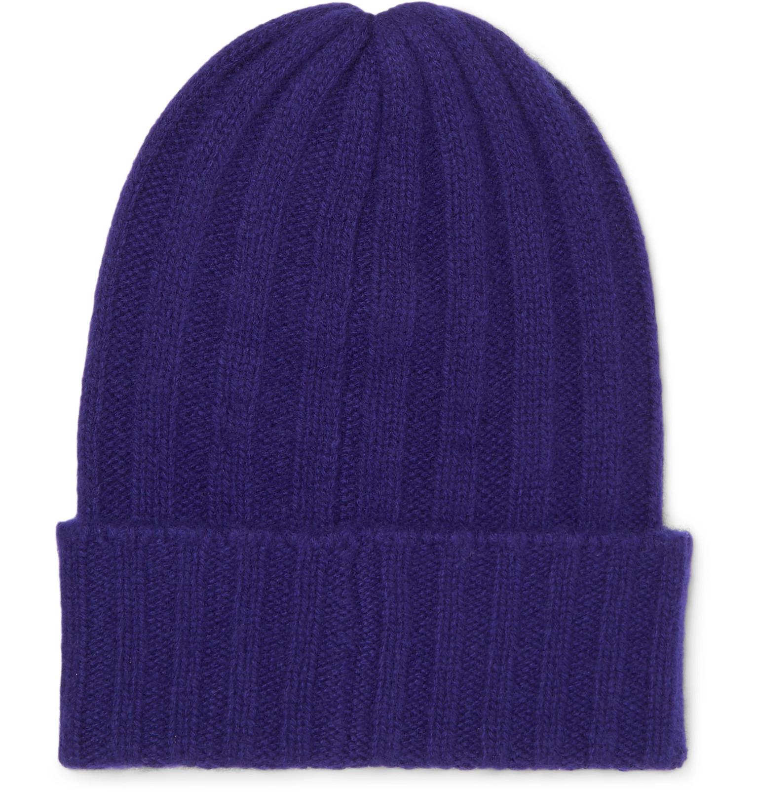 b1b0d46ac15 The Elder Statesman - Blue Short Bunny Echo Ribbed Cashmere Beanie for Men  - Lyst