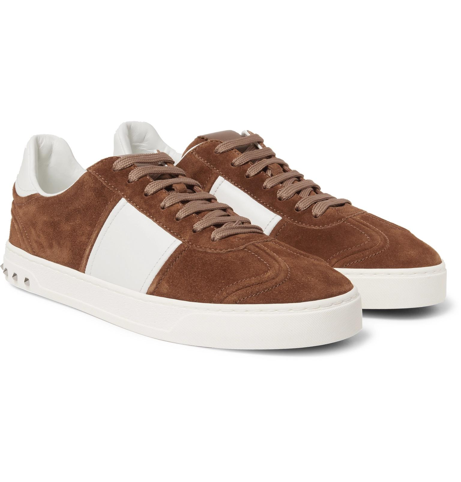 Garavani Flycrew Leather-panelled Suede Sneakers Valentino QLH7a