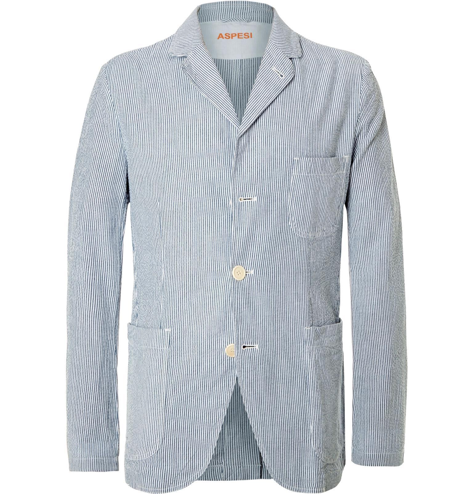 Lyst - Aspesi Blue Slim-fit Striped Cotton-seersucker Blazer in Blue ...