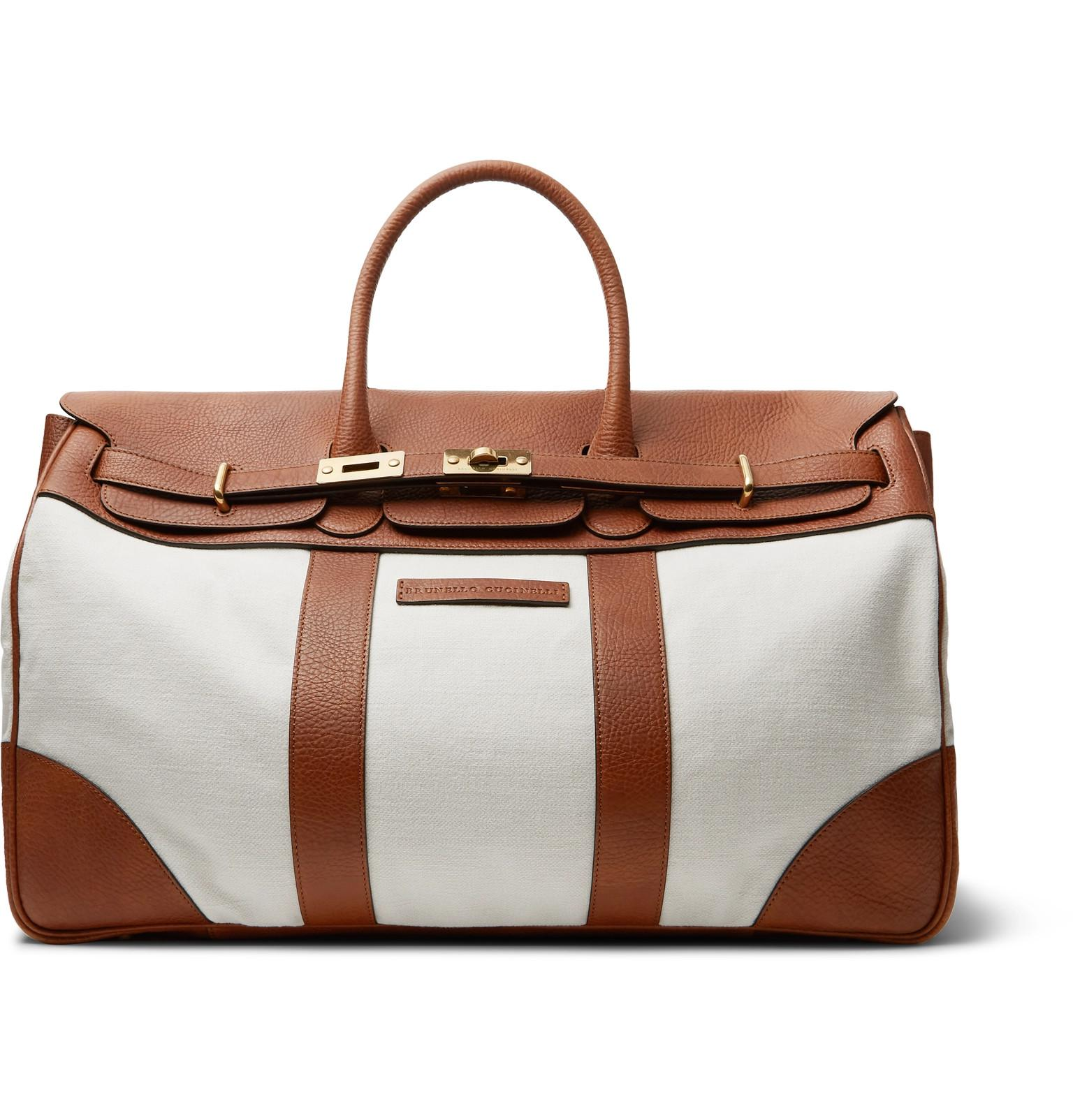 ad8263c769 Lyst - Brunello Cucinelli Canvas And Full-grain Leather Holdall in ...