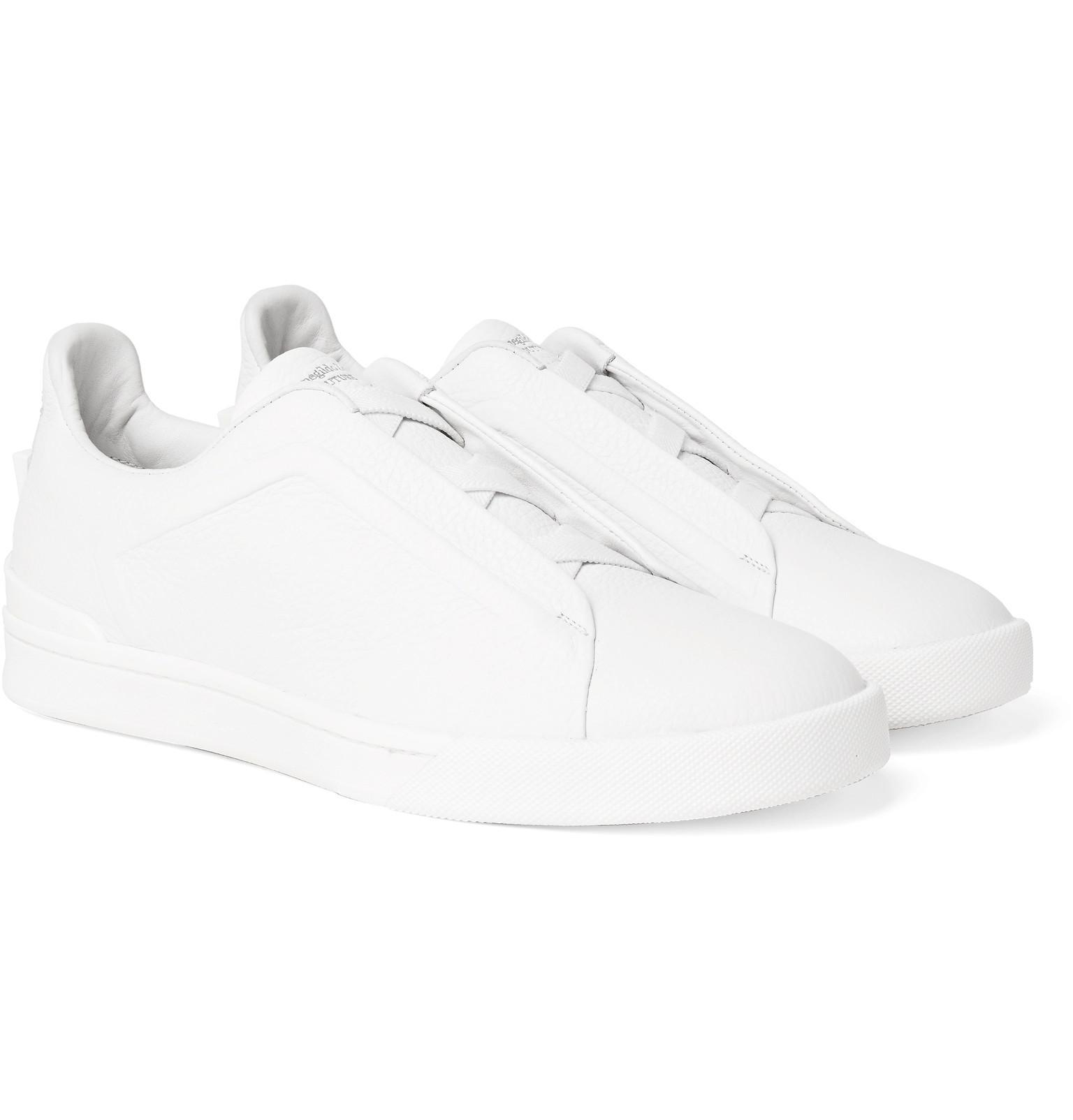 Nice En Ligne Ermenegildo Zegna Triple Stitch Full-grain Leather Slip-on Sneakers - White Pas Cher Grand Escompte Achats En Ligne Prix Le Plus Bas Amazone À Vendre KDyaJkv