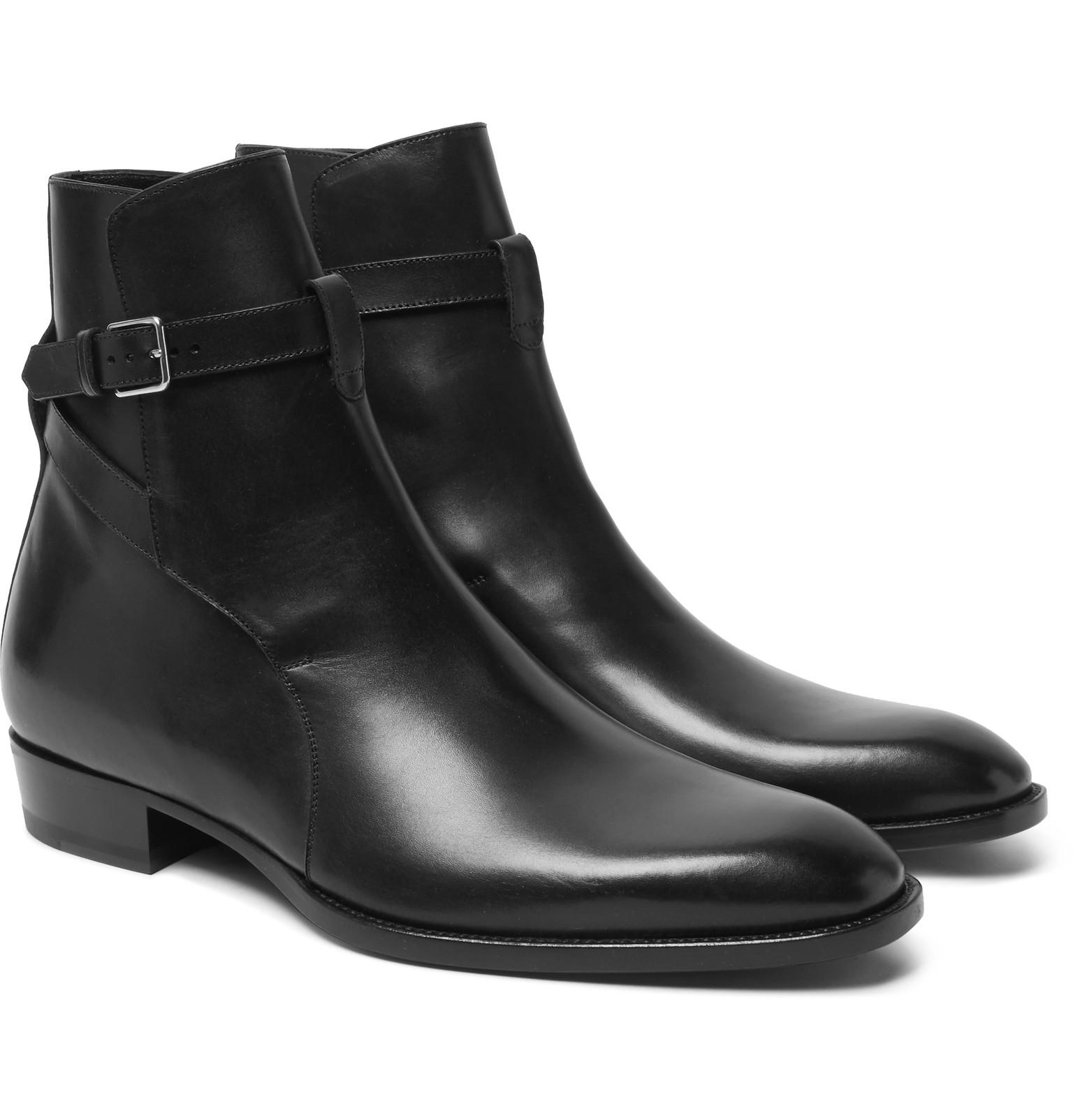 Saint Laurent Leather Jodhpur Boots In Black For Men Lyst