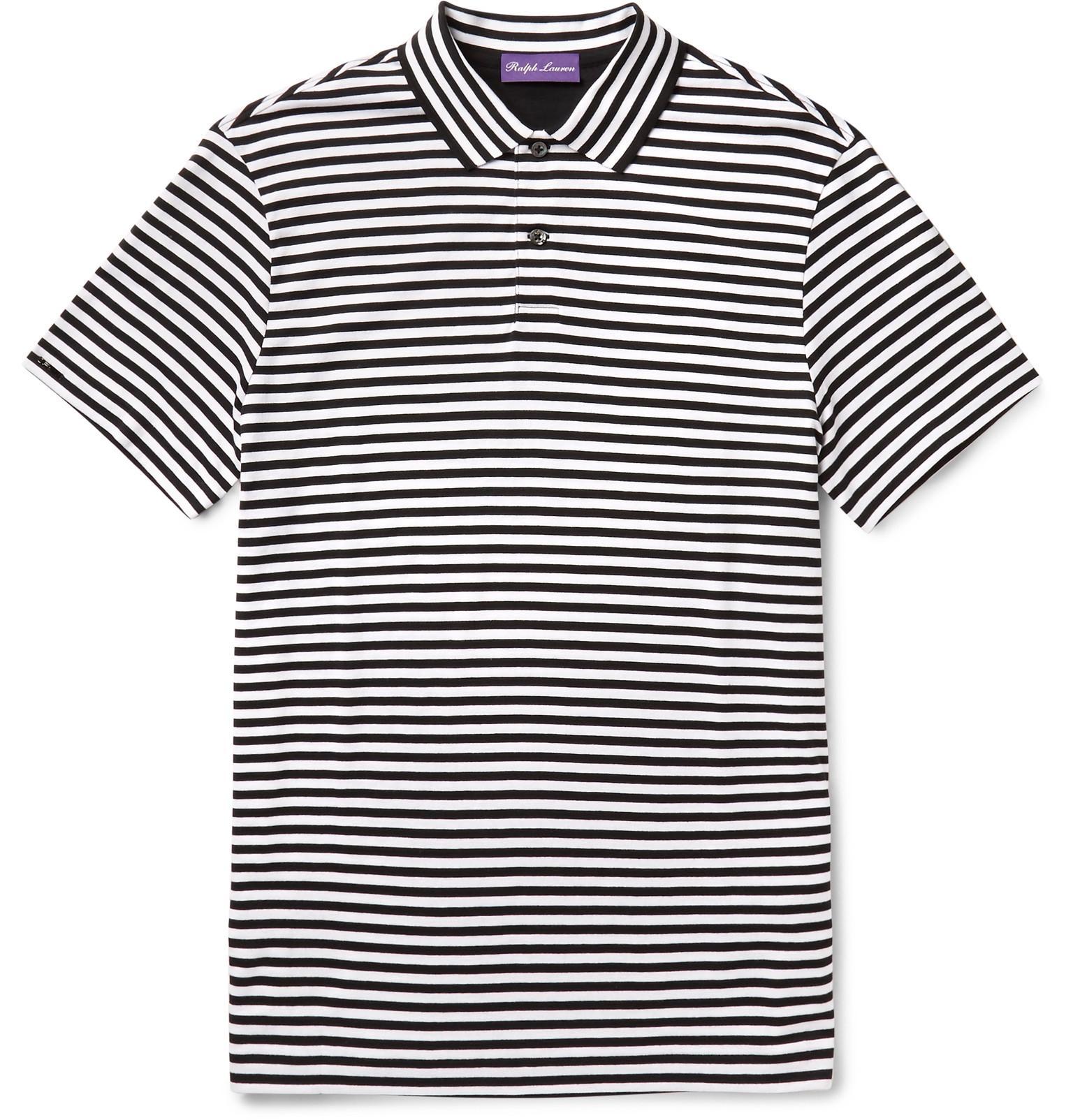 Ralph lauren purple label striped pima cotton jersey polo for Ralph lauren black label polo shirt