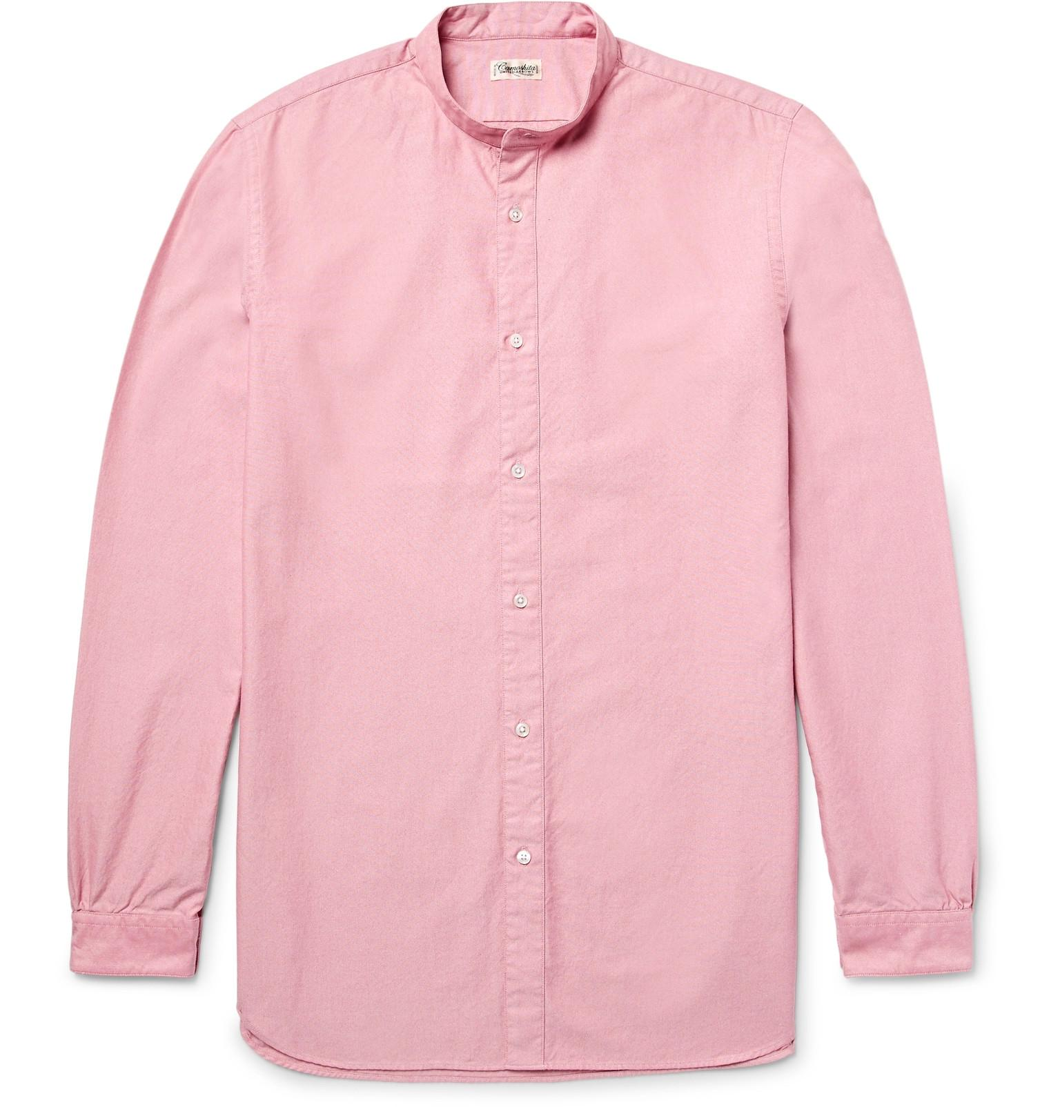 Camoshita slim fit grandad collar cotton oxford shirt in for Pink oxford shirt men