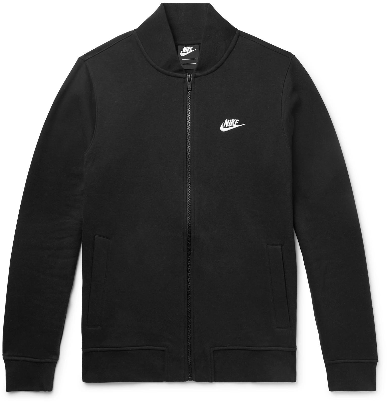 separation shoes c0de0 7f31f nike-black-Slim-fit-Fleece-back-Cotton-blend-Jersey-Zip-up-Sweatshirt.jpeg