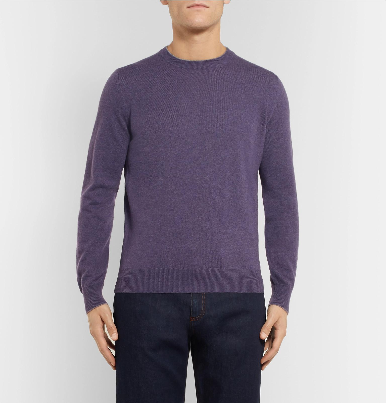 Purple Sweater View Cucinelli Tipped Fullscreen For Cashmere Contrast Lyst Men Brunello q7npwW5z5
