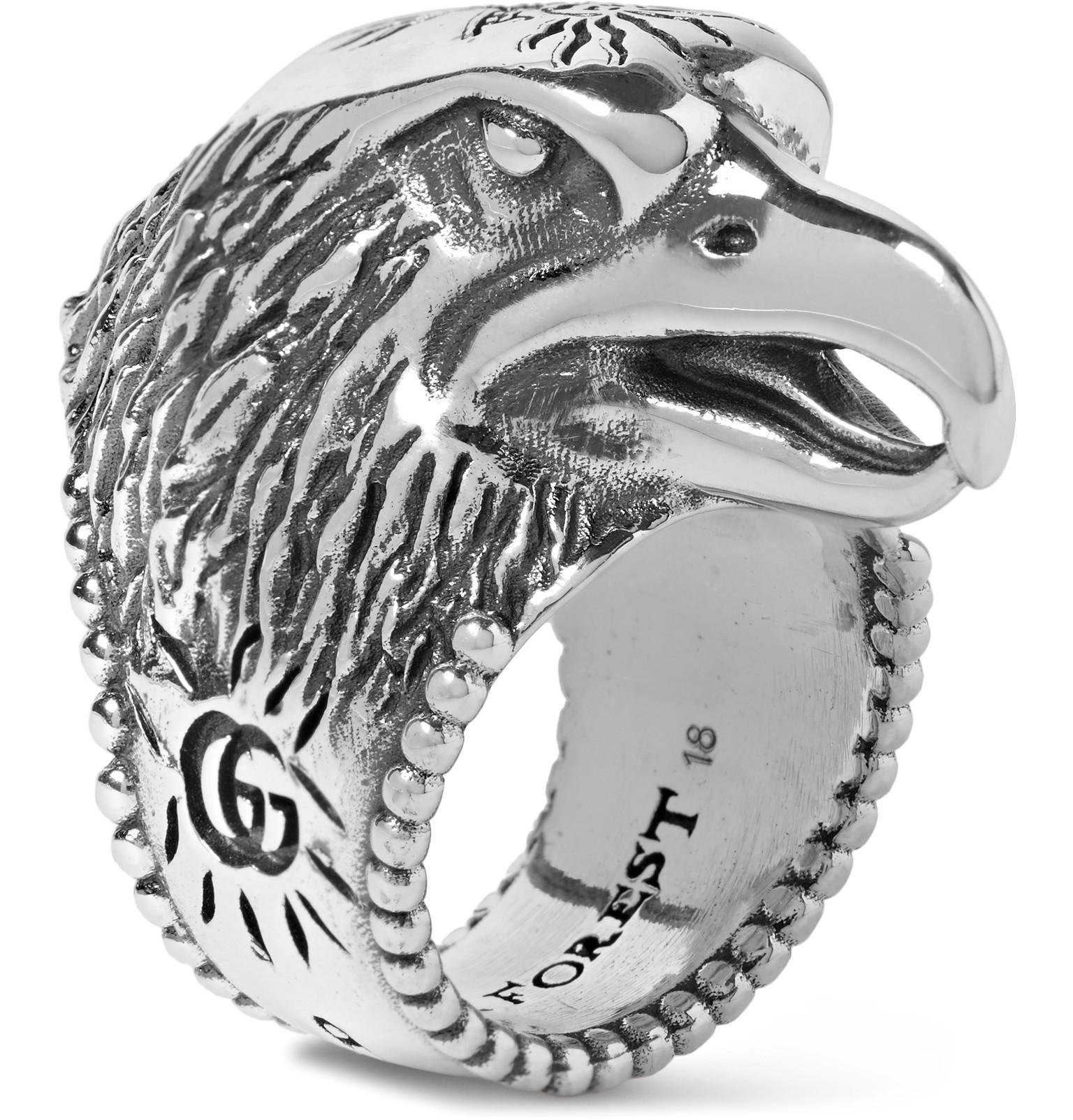 Gucci Anger Forest eagle head ring in silver gMe9DNy