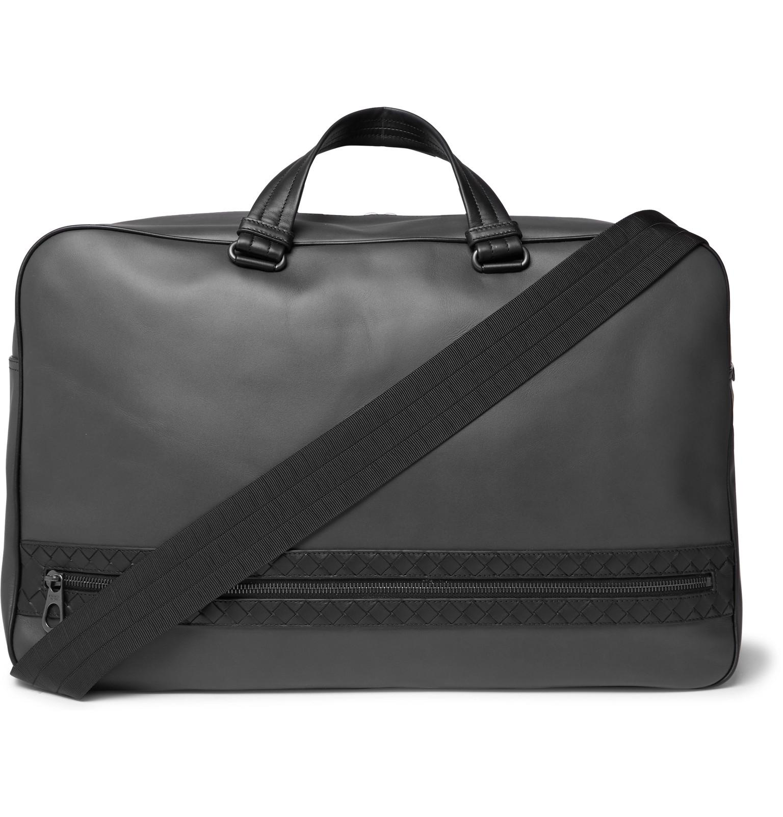 Bottega Veneta Intrecciato-trimmed Leather Holdall in Gray for Men ... 08cdec1fc4913