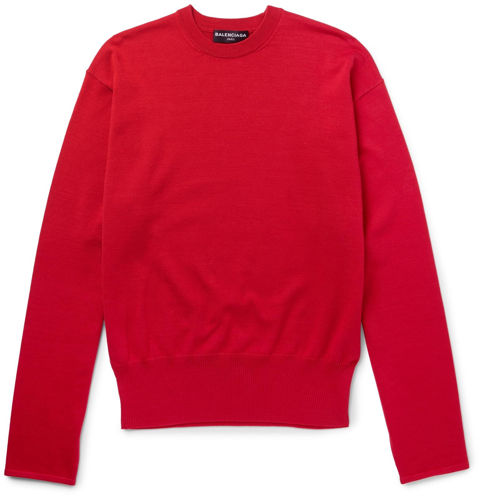 Balenciaga oversized cotton blend sweater in red for men for Balenciaga t shirt red