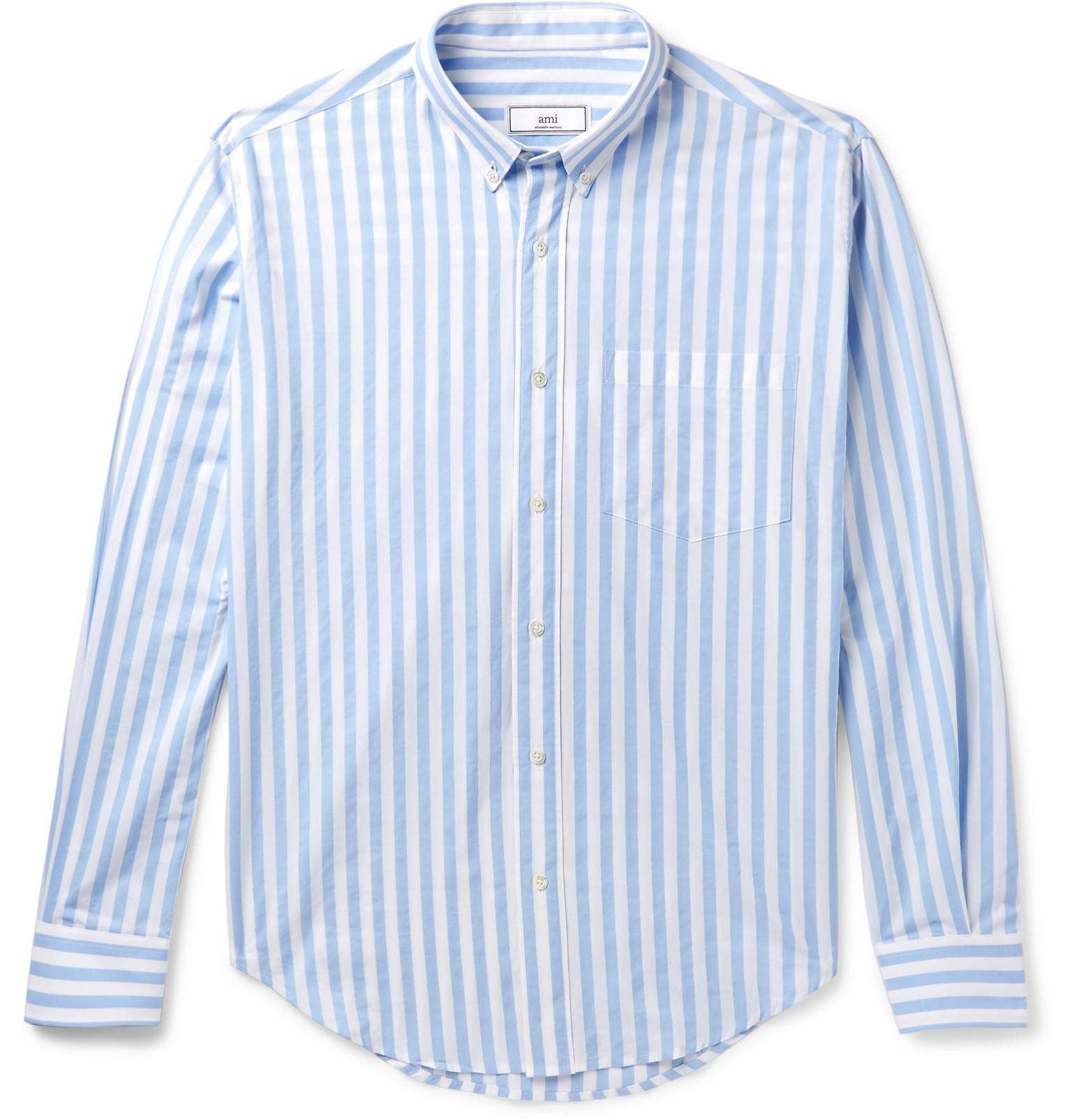 Ami button down collar striped cotton shirt in blue for for Striped button down shirts for men