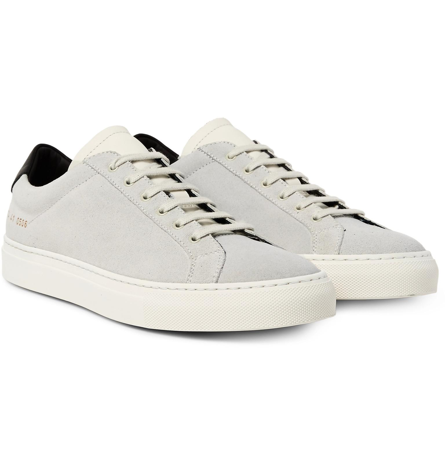 common projects achilles retro leather trimmed suede sneakers in white for men lyst. Black Bedroom Furniture Sets. Home Design Ideas