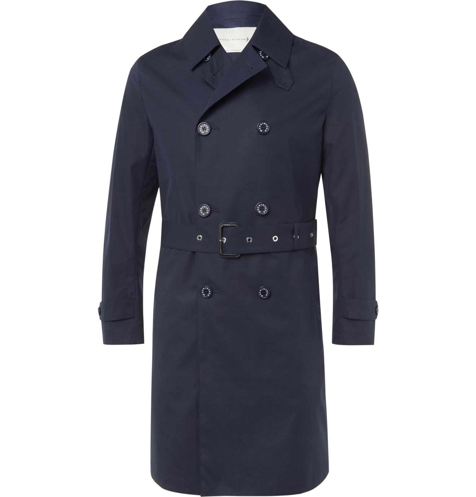 Mackintosh Slim-fit Belted Bonded-cotton Raincoat in Blue ...