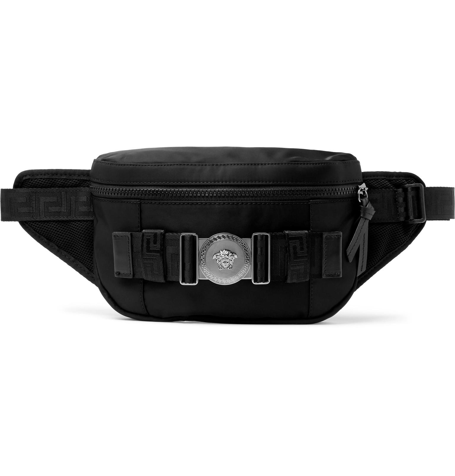 00de9b47181c Lyst - Versace Logo-embellished Mesh-trimmed Nylon Belt Bag in Black ...