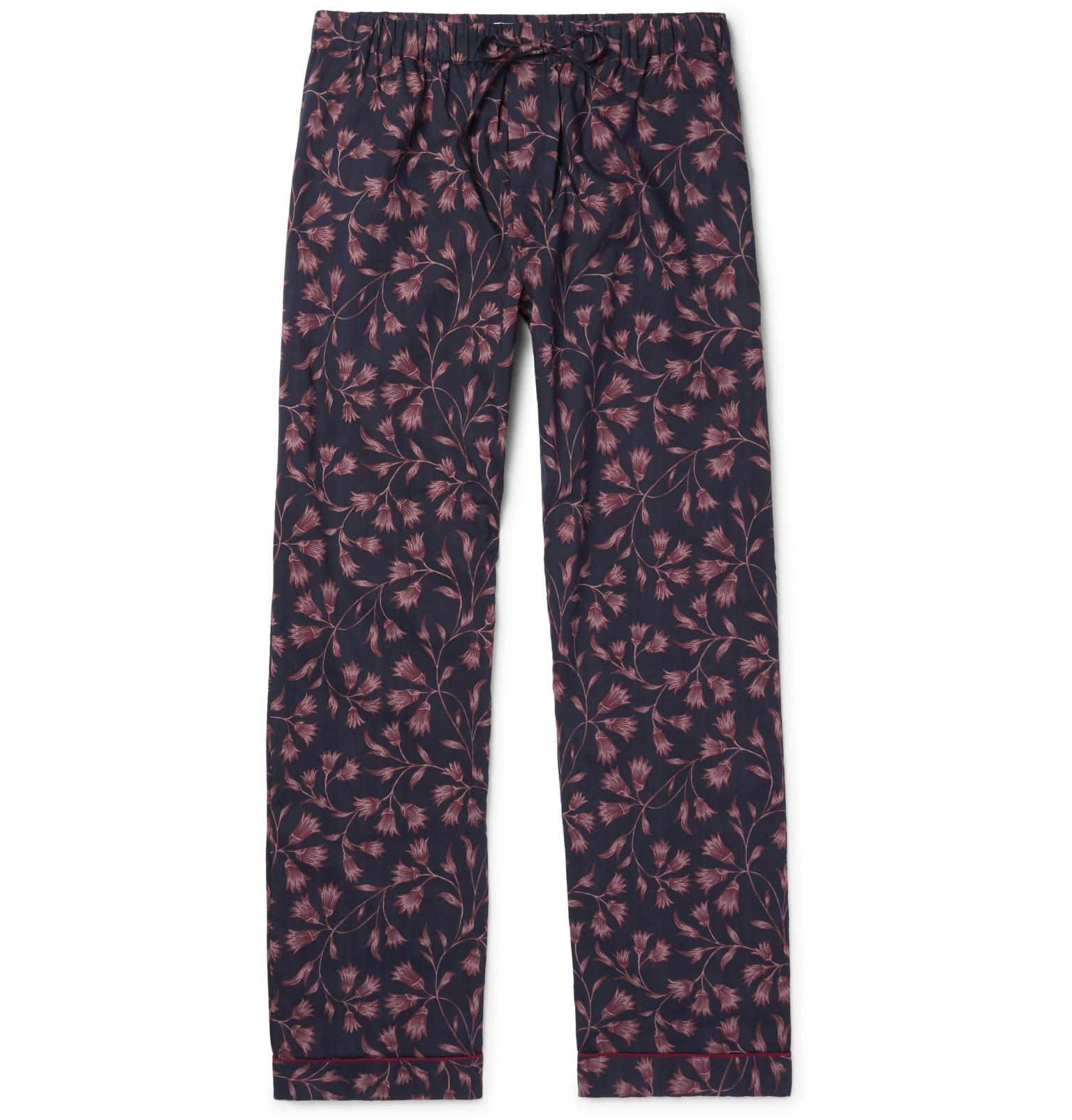 Desmond & Dempsey Printed Cotton Pyjama Trousers - Blue 4n6RFfL1
