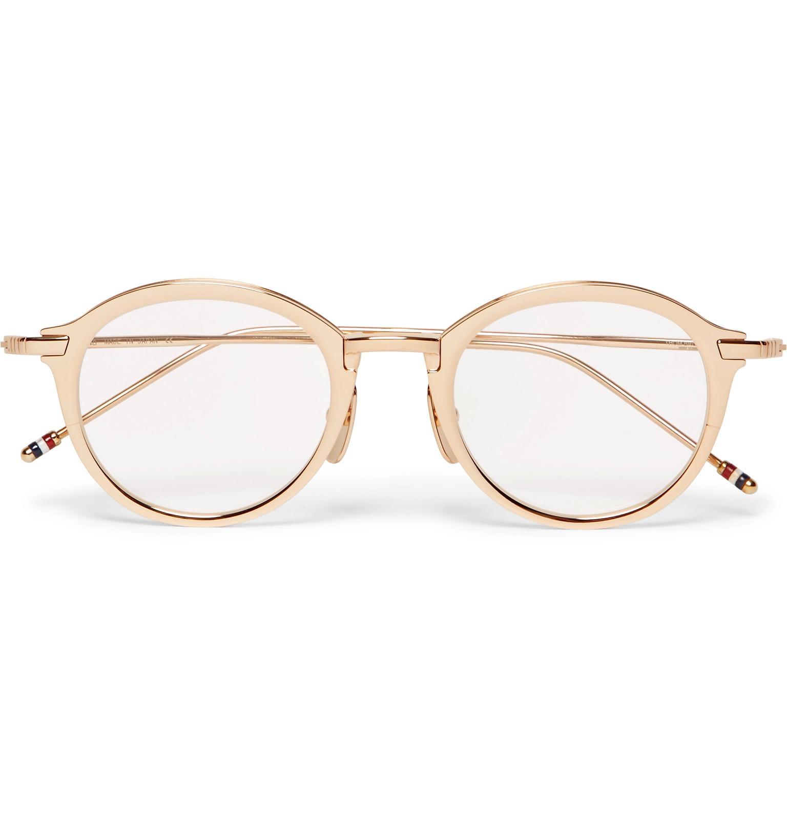 f49ec2cf9a8 Thom Browne - White Round-frame Gold-tone Titanium Optical Glasses for Men -