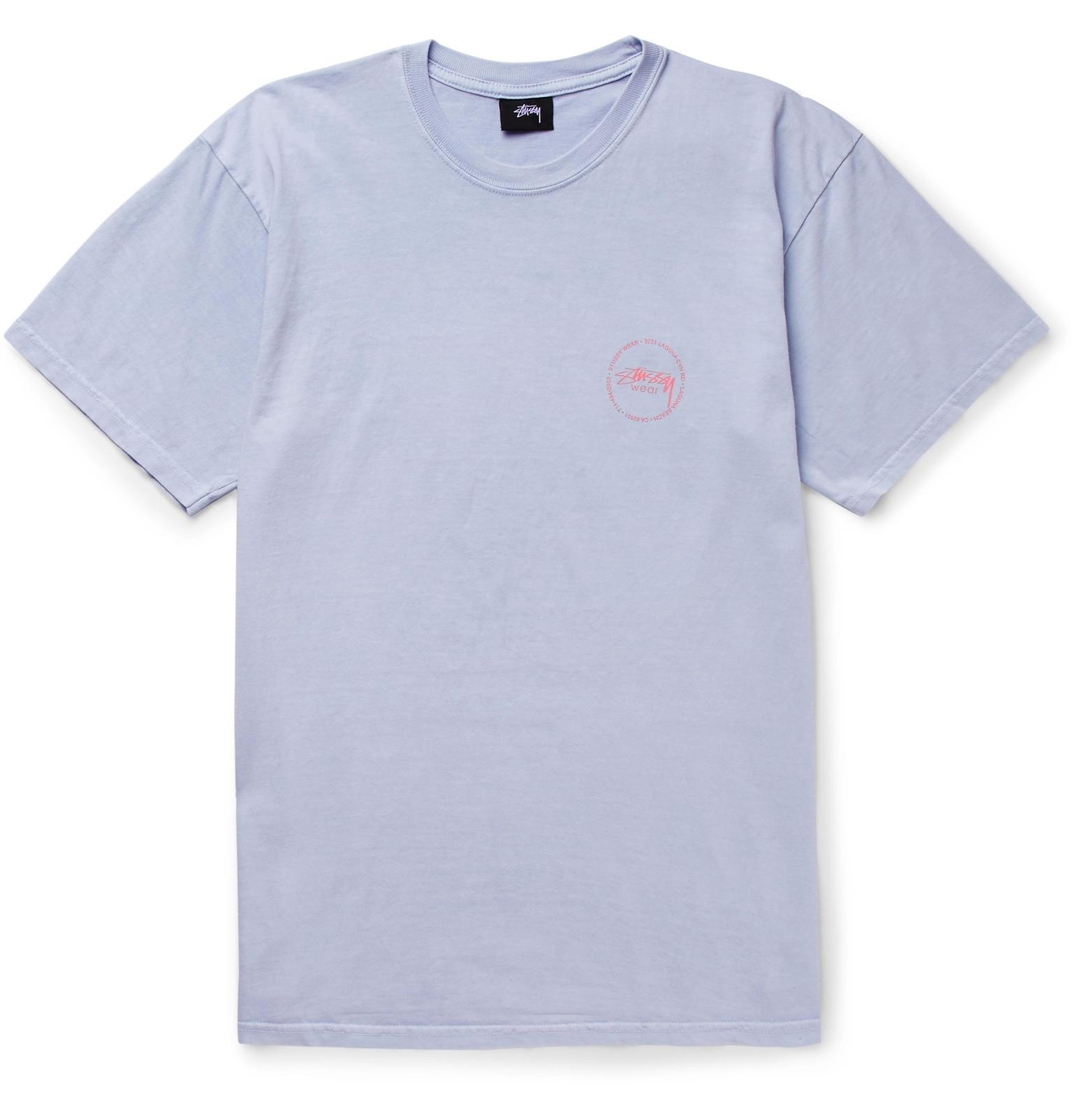 Stussy Old Stamp Printed Cotton Jersey T Shirt In Blue For