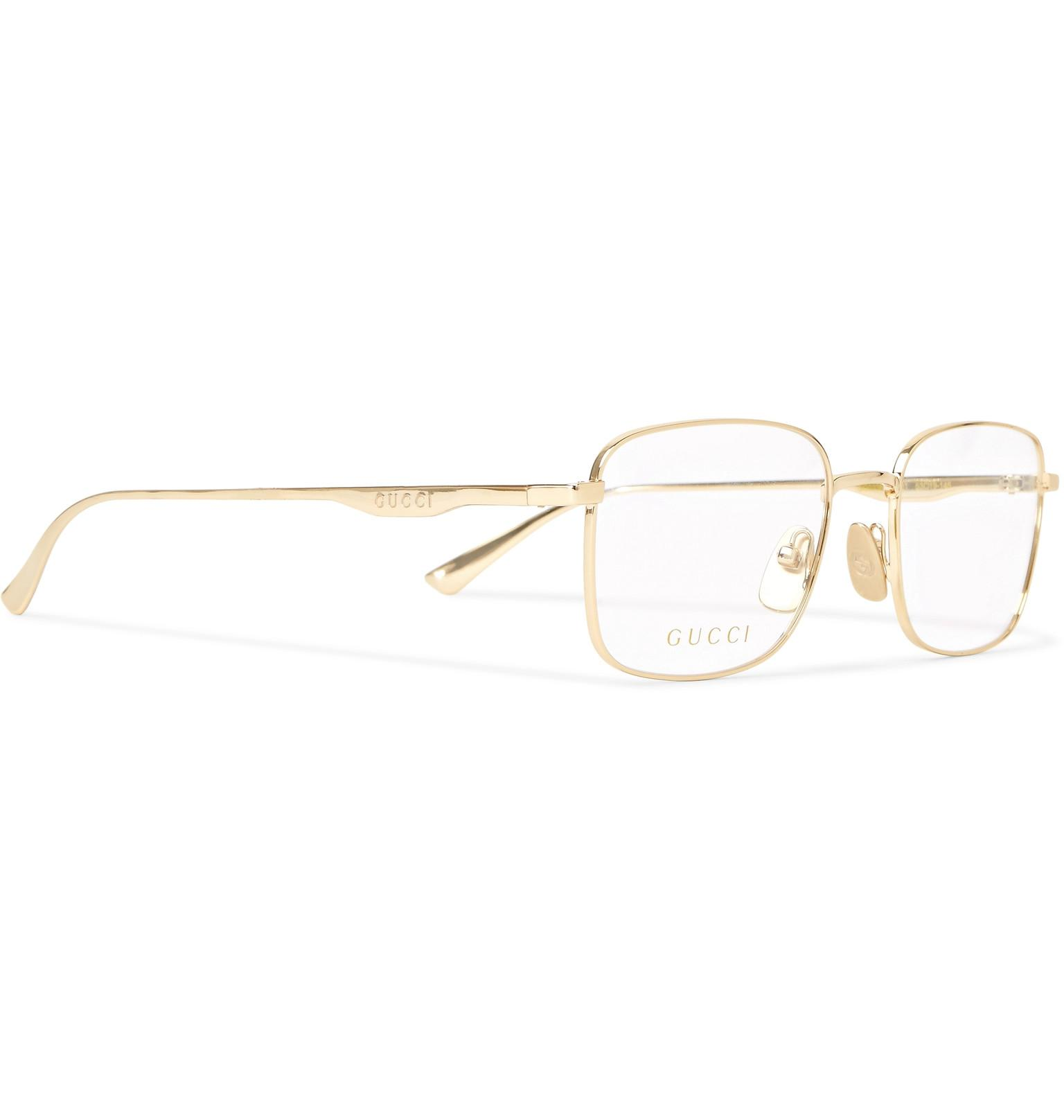 c52ed9896ba Gucci Square-frame Gold-tone Optical Glasses in Metallic for Men - Lyst