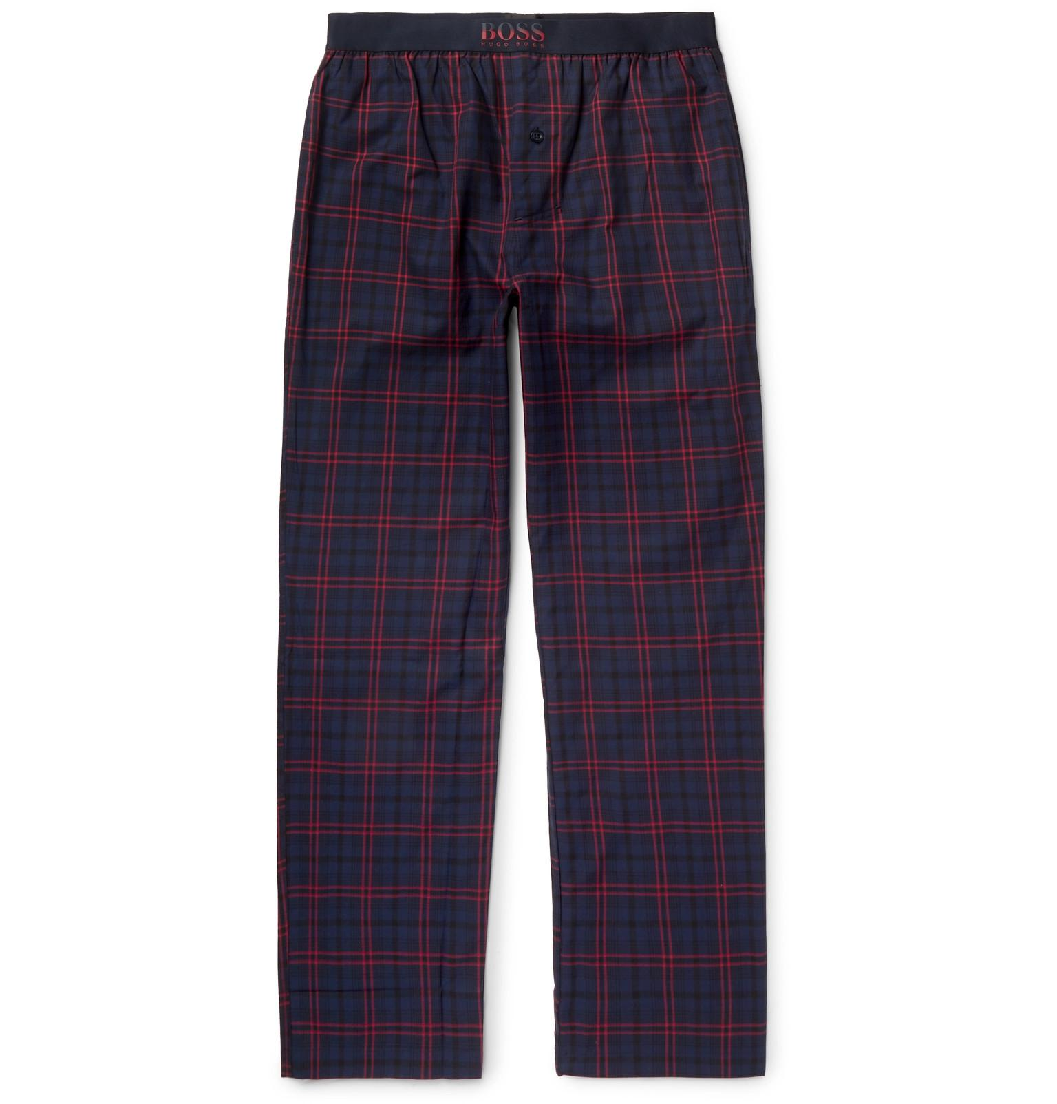 cfe819b1 BOSS - Blue Slim-fit Checked Cotton Pyjama Trousers for Men - Lyst. View  fullscreen