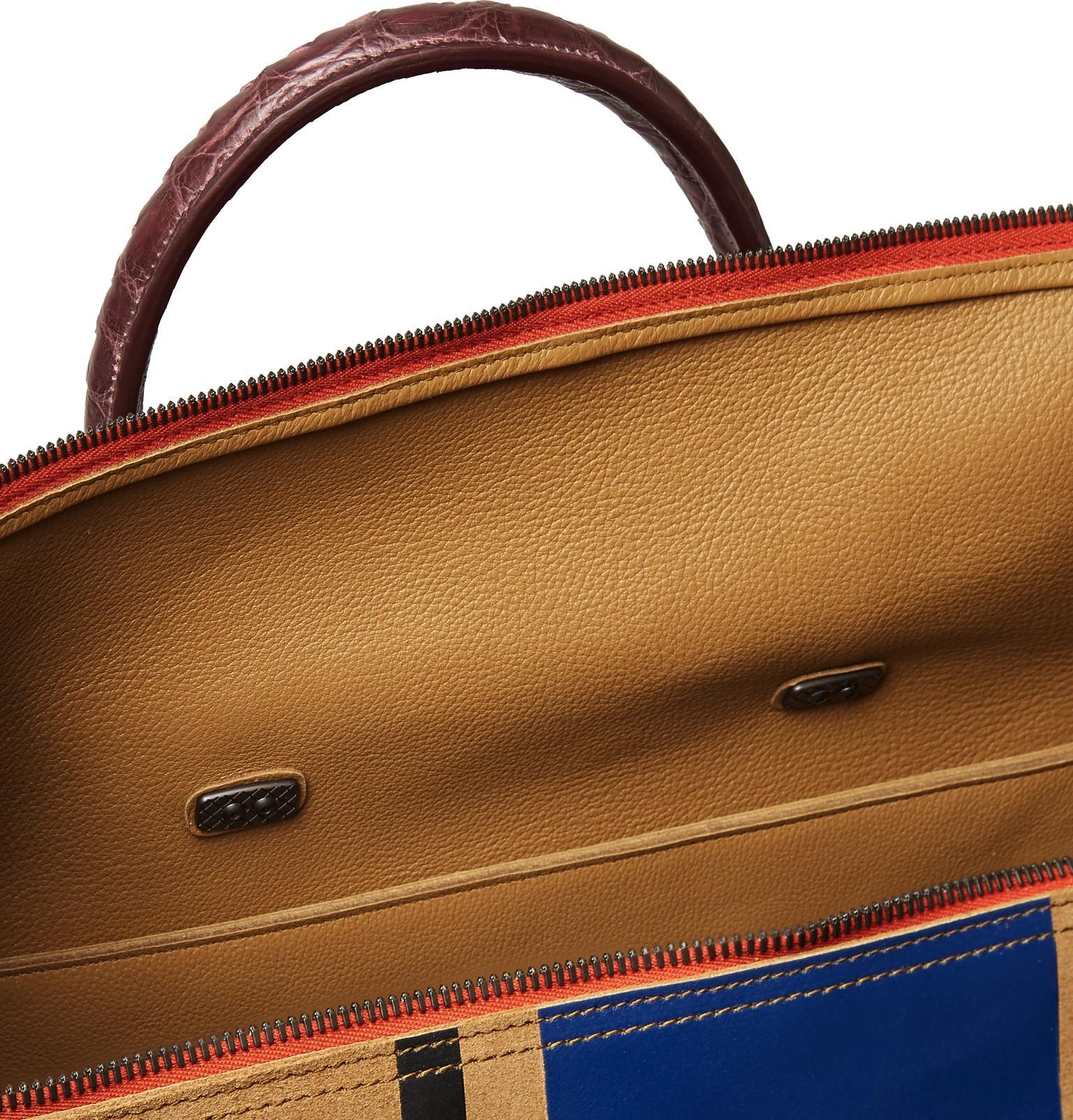 92e8d9518520 ... Bottega Veneta - Blue Croc-effect Intrecciato Leather-trimmed Printed  Suede Holdall for Men ...