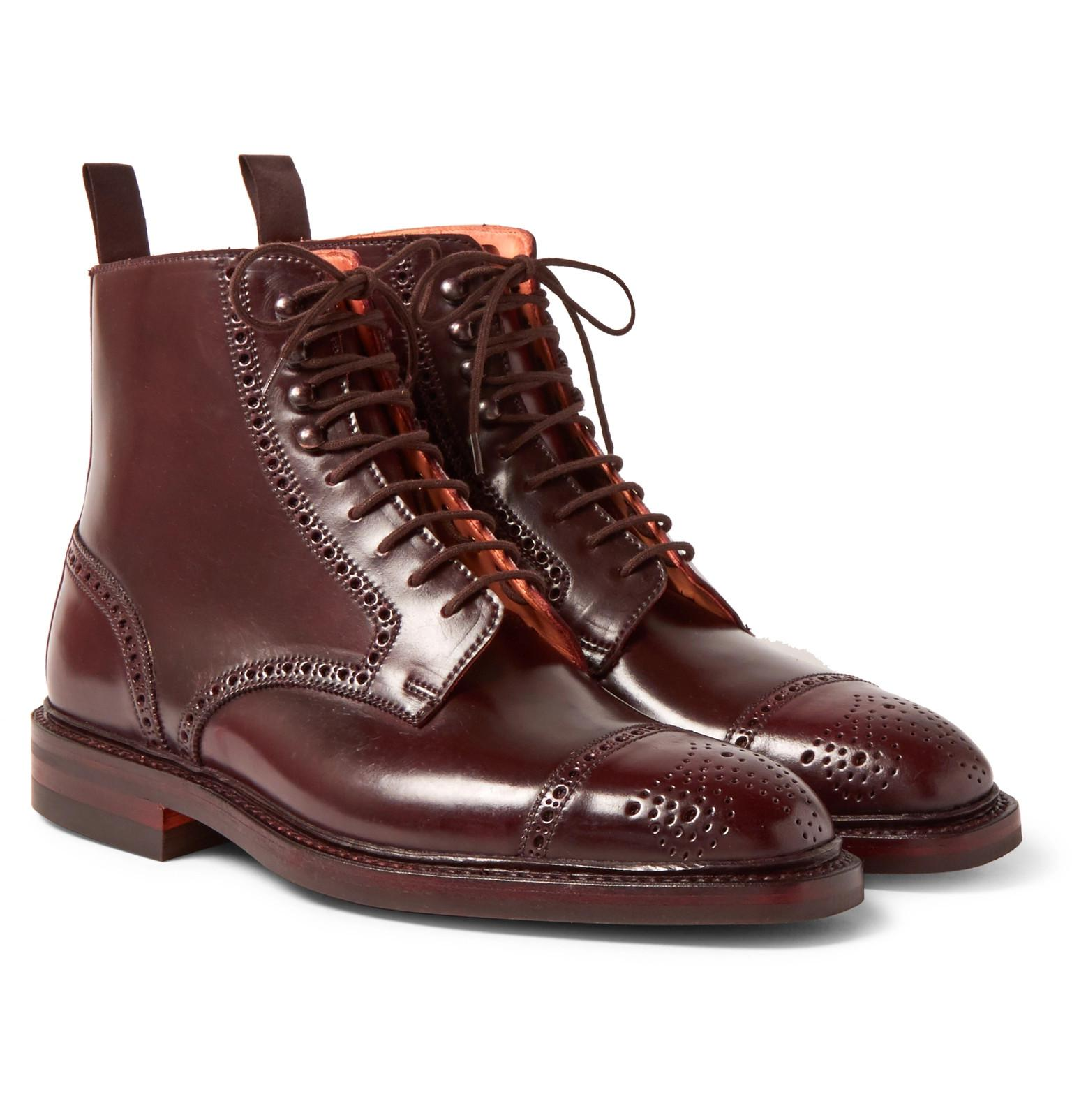 browse online George Cleverley William Cap-Toe Horween Shell Cordovan Leather Boots outlet buy NN0XMp2GS
