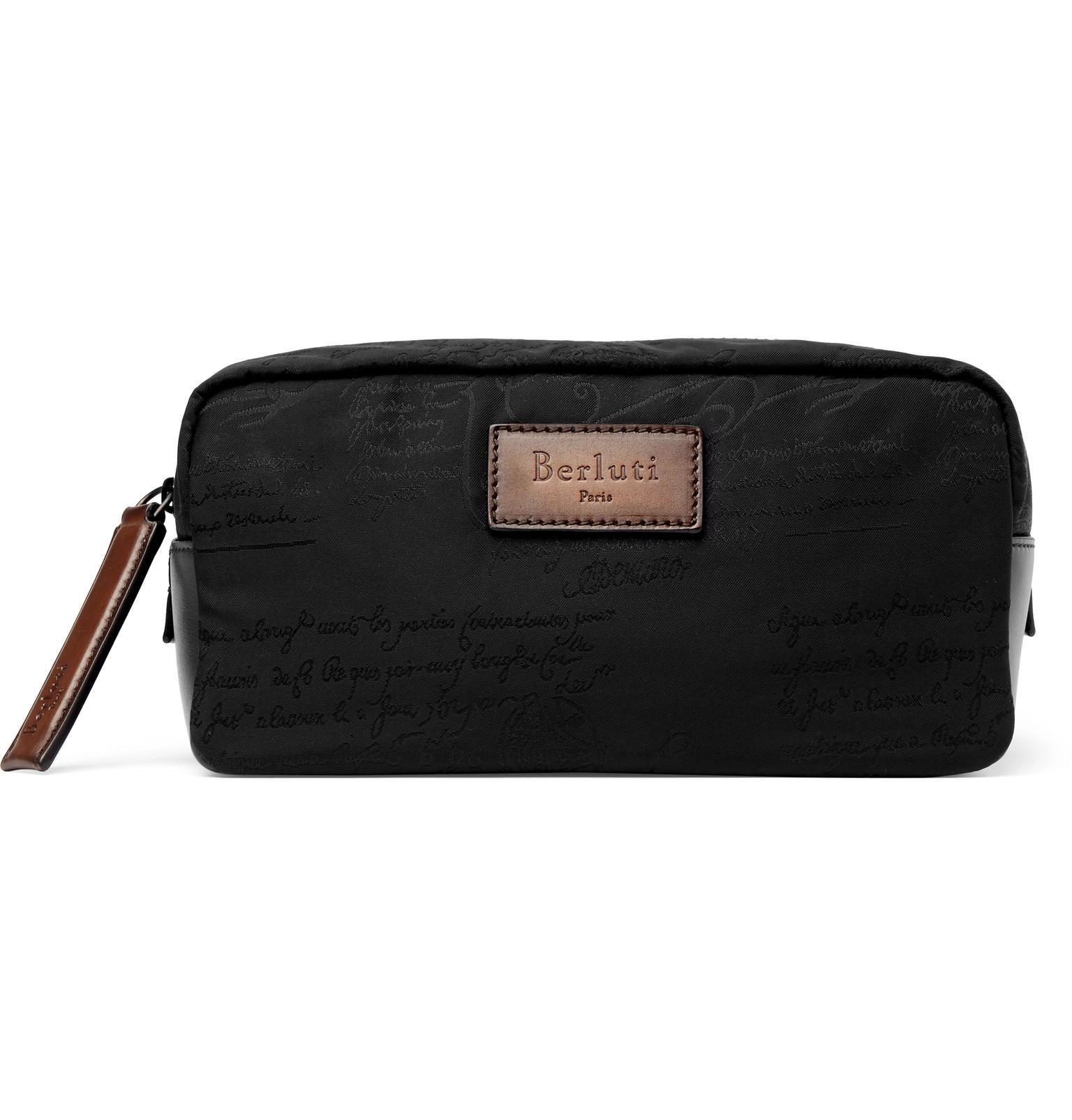4081b5a6f2f Lyst - Berluti Scritto Leather-trimmed Nylon Wash Bag in Black for Men