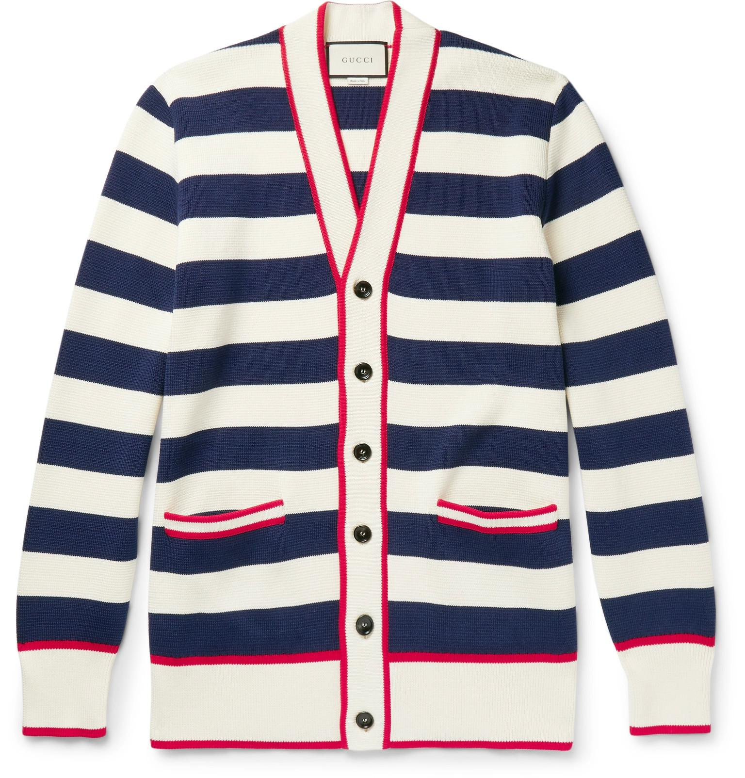 bd754c7e1ae Lyst - Gucci Embroidered Striped Cotton Cardigan in Blue for Men